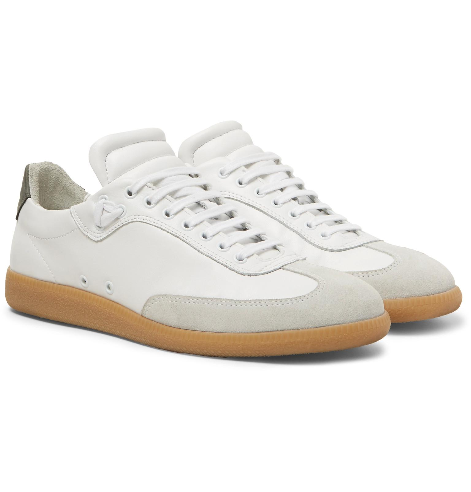 Cheap Price Men Public School Otto Nubuck and Suede Trimmed Leather Sneakers White