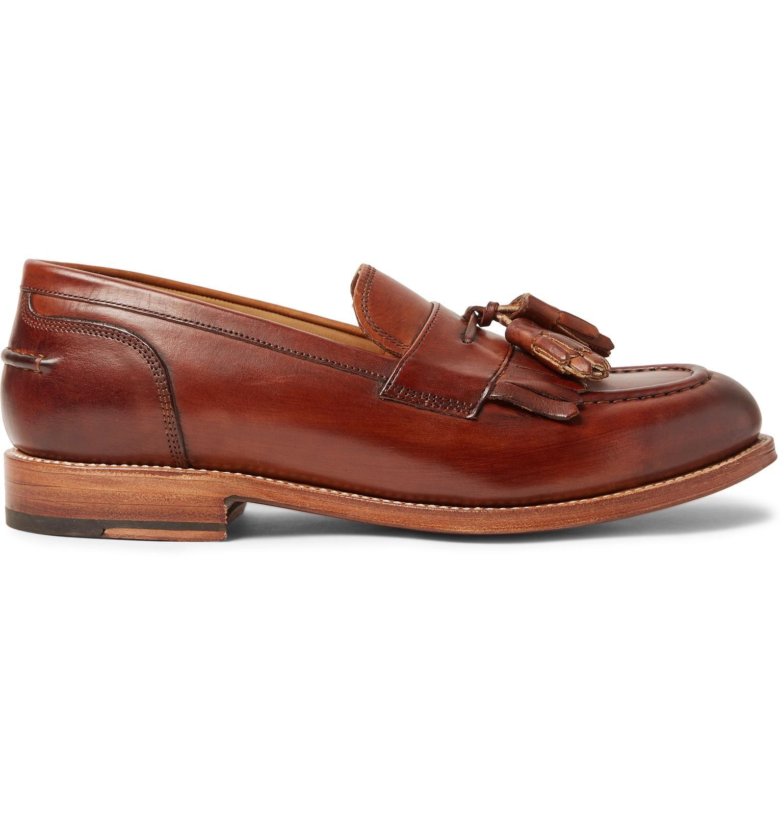 68bb34920ee Lyst - Grenson Mackenzie Burnished-leather Tasselled Kiltie Loafers ...