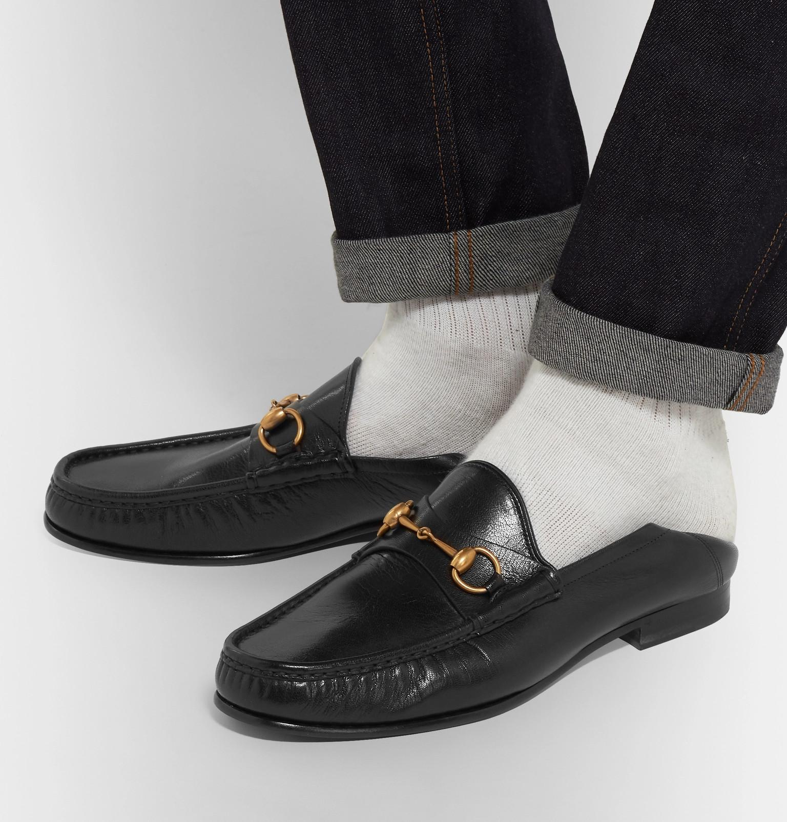 4e36d49f132 Gucci Easy Roos Horsebit Collapsible-heel Leather Loafers in Black ...
