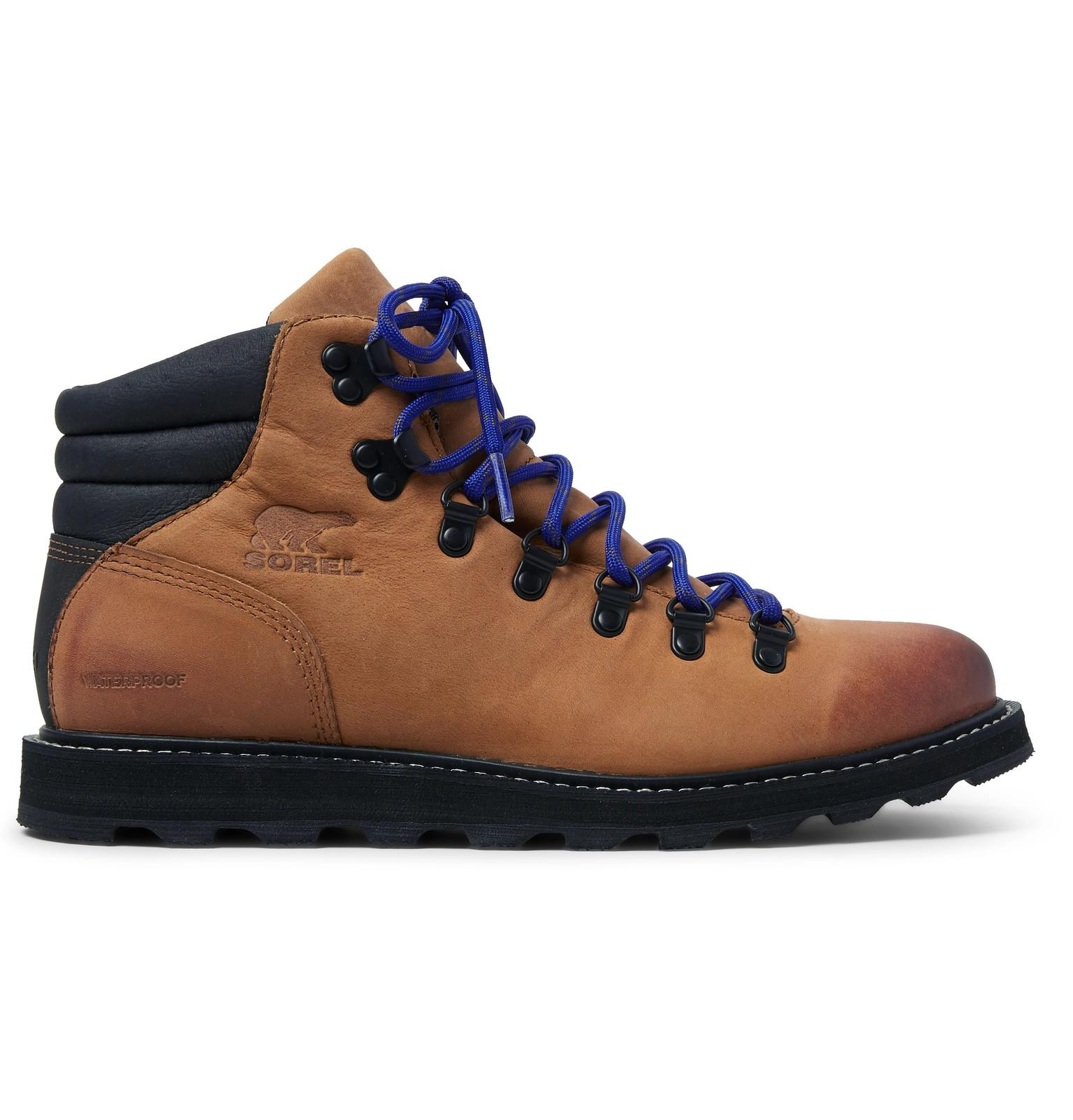 7ce7b272460 Sorel Blue Madson Hiker Waterproof Leather And Rubber-trimmed Nubuck Boots  for men