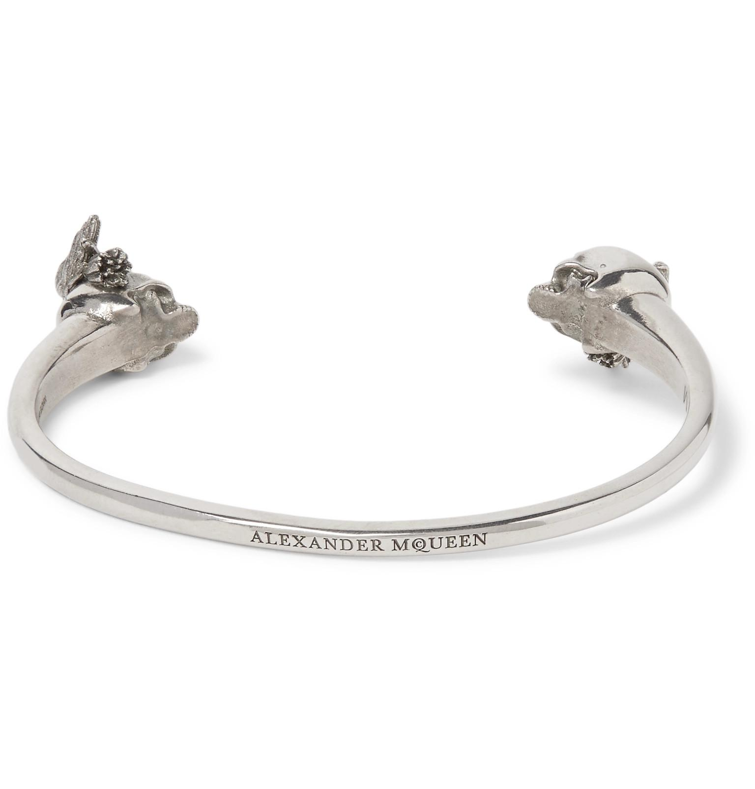 Alexander McQueen Leather Skull And Raven Silver-tone Cuff in Metallic for Men