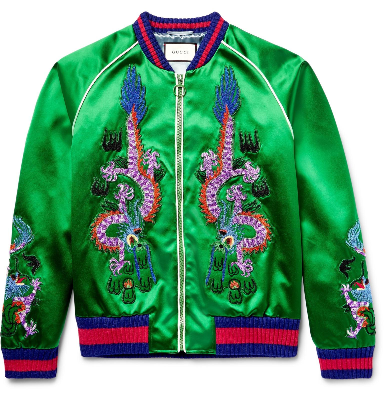 Lyst Gucci Appliqu 233 D Silk Satin Duchesse Bomber Jacket