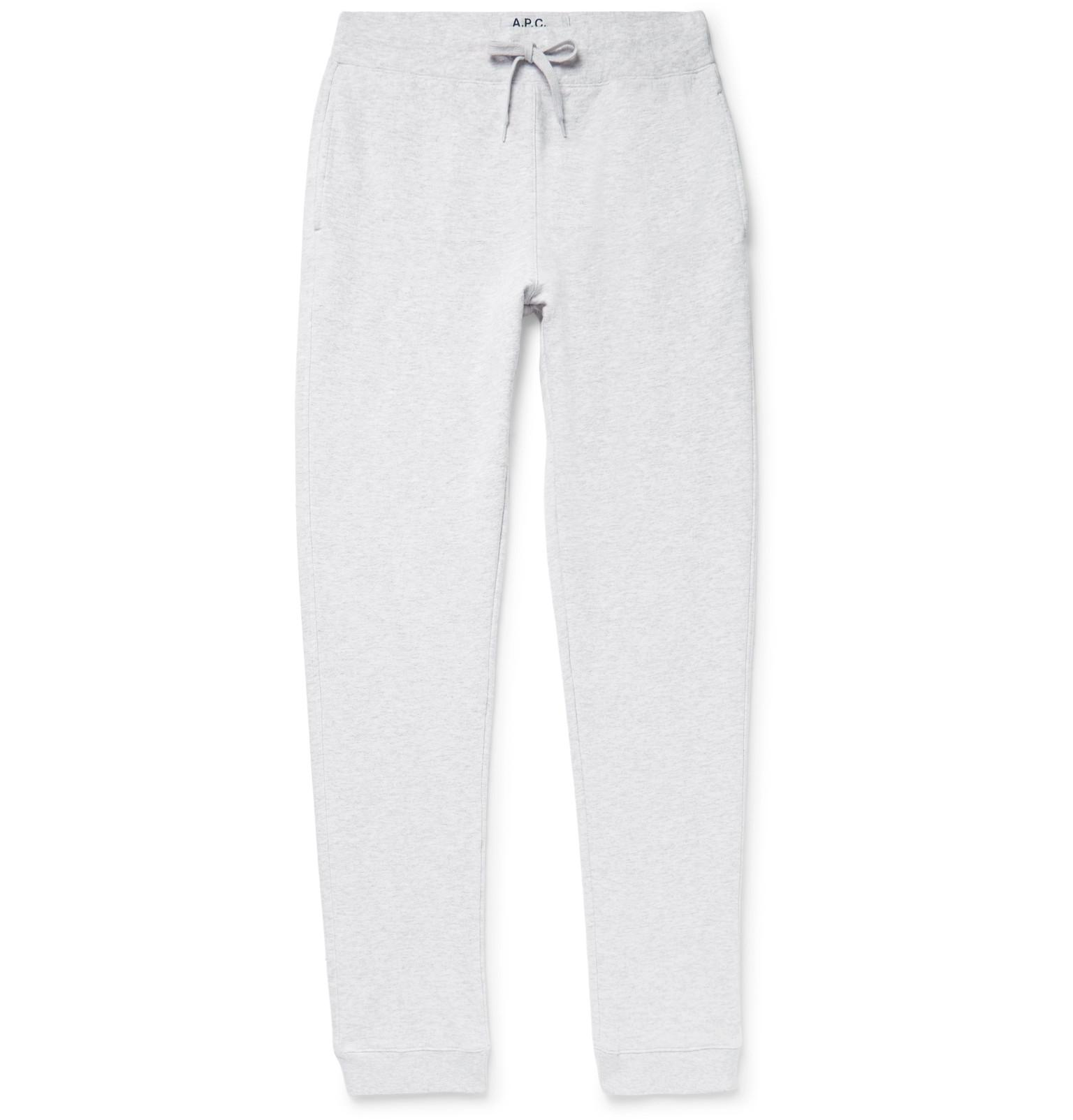 A.P.C Tapered Mélange Loopback Cotton-blend Jersey Sweatpants - Gray Qualité Supérieure En Ligne Vente Pas Cher Grande Vente Pas Cher Vente En Ligne Le Plus Récent 1rNa8W