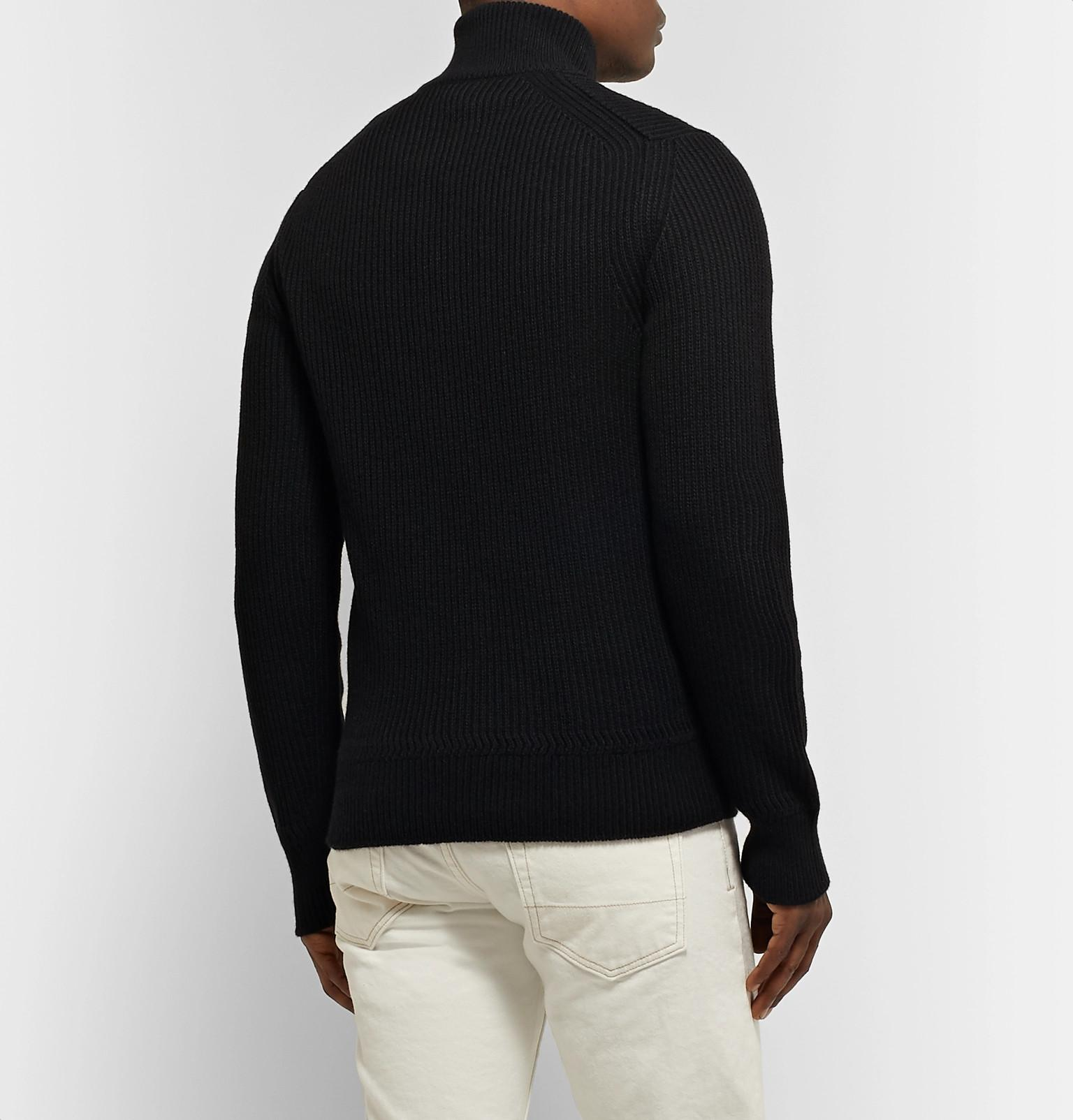 7c6912a45c7c1 Tom Ford Slim-fit Ribbed Merino Wool And Cashmere-blend Half-zip Sweater in  Black for Men - Save 50% - Lyst