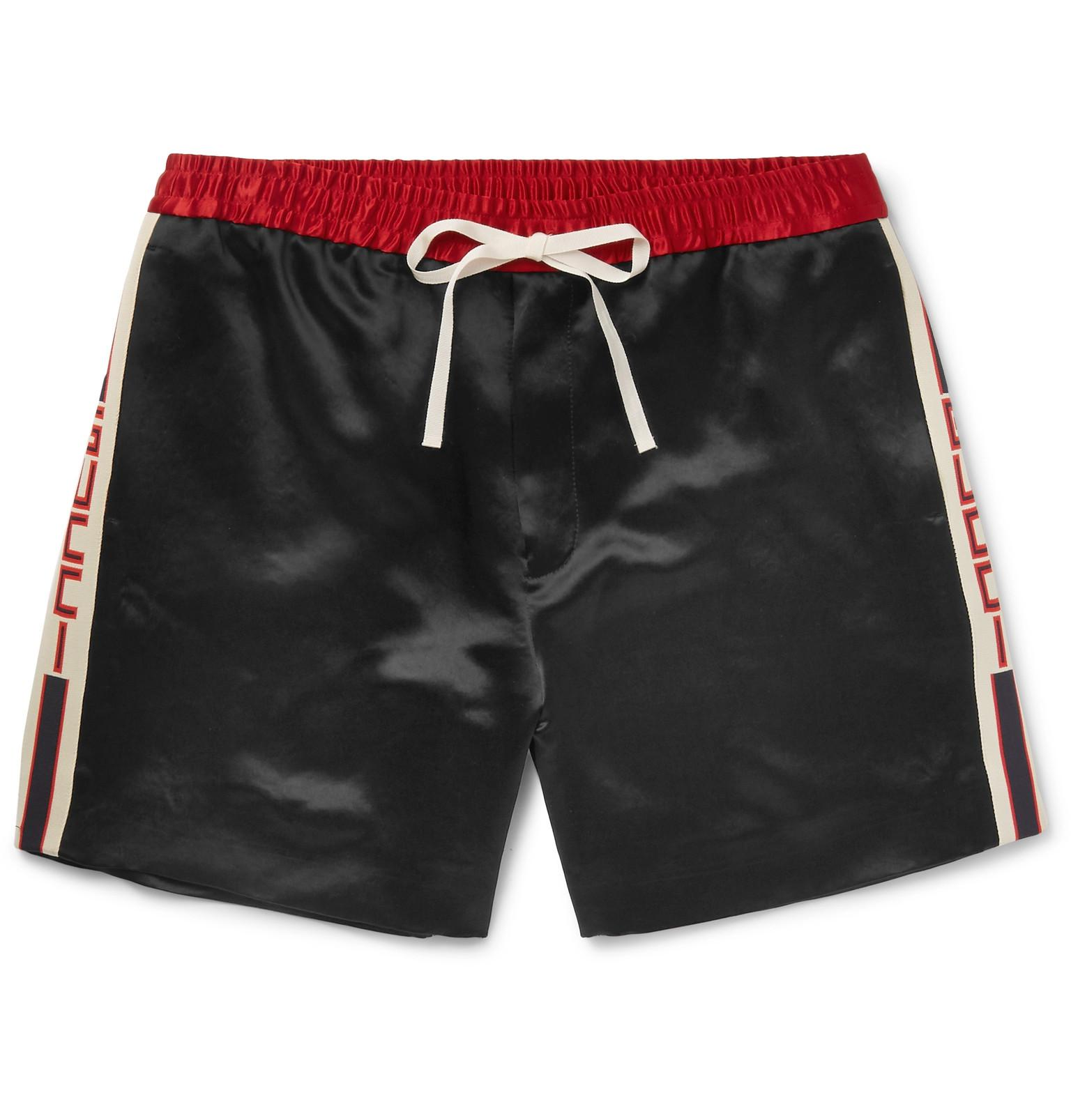 Wide-leg Webbing-trimmed Satin-twill Shorts Gucci YzONRin