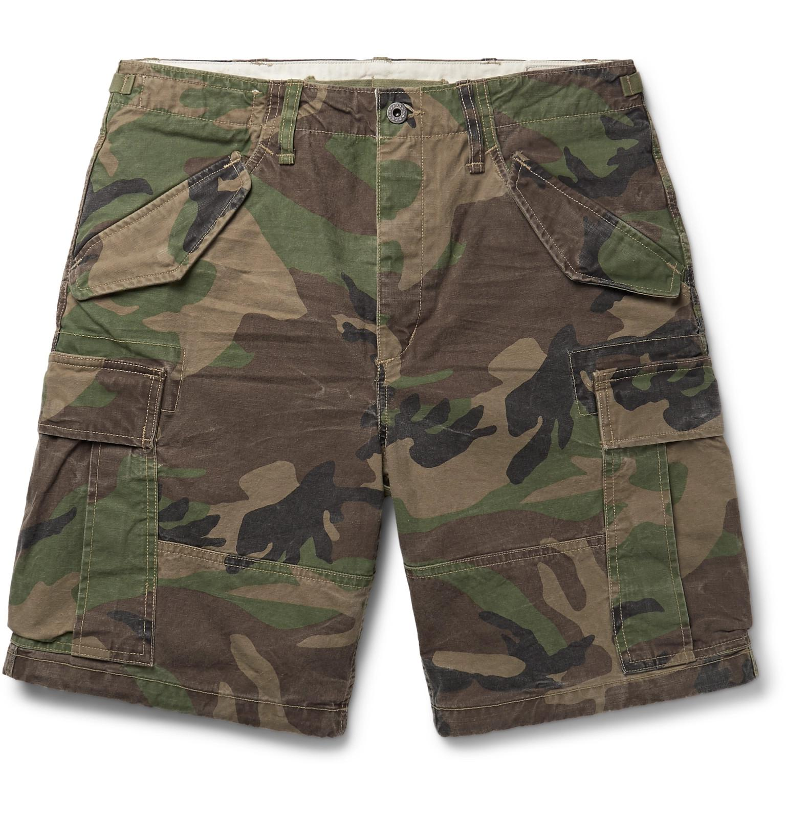 Polo Ralph Lauren. Men\u0027s Green Camouflage-print Cotton Cargo Shorts
