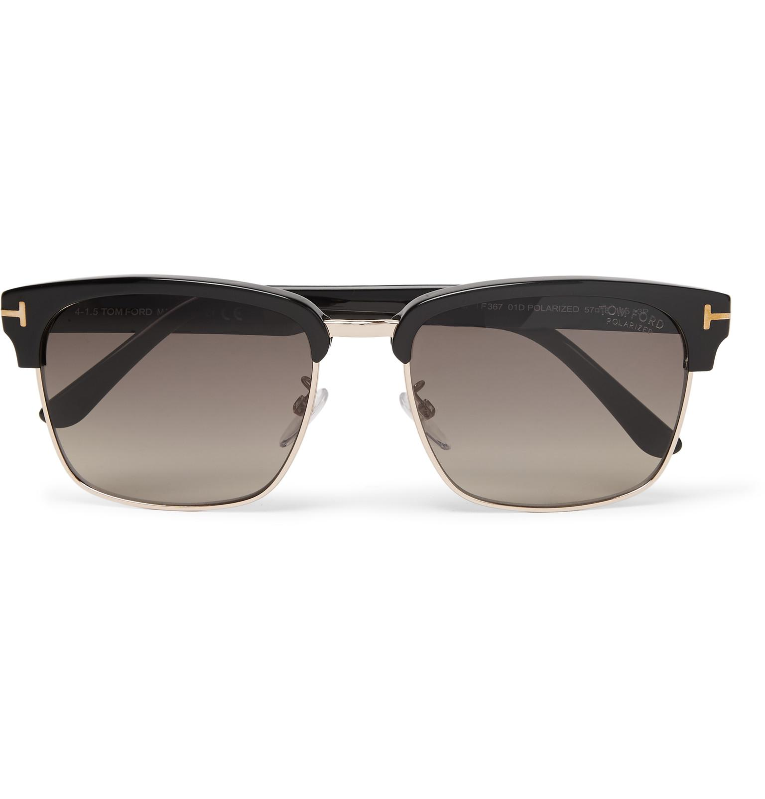 6e40ab1b93b Lyst - Tom Ford River D-frame Acetate And Gold-tone Polarised ...