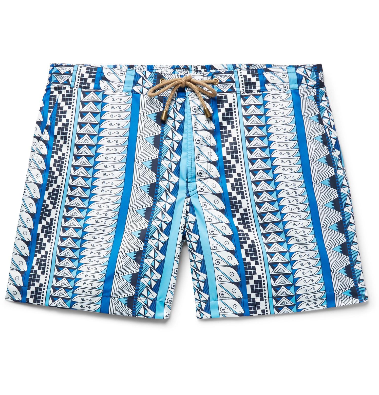 THORSUN Titan Short-length Printed Swim Shorts - Blue 616I3mm