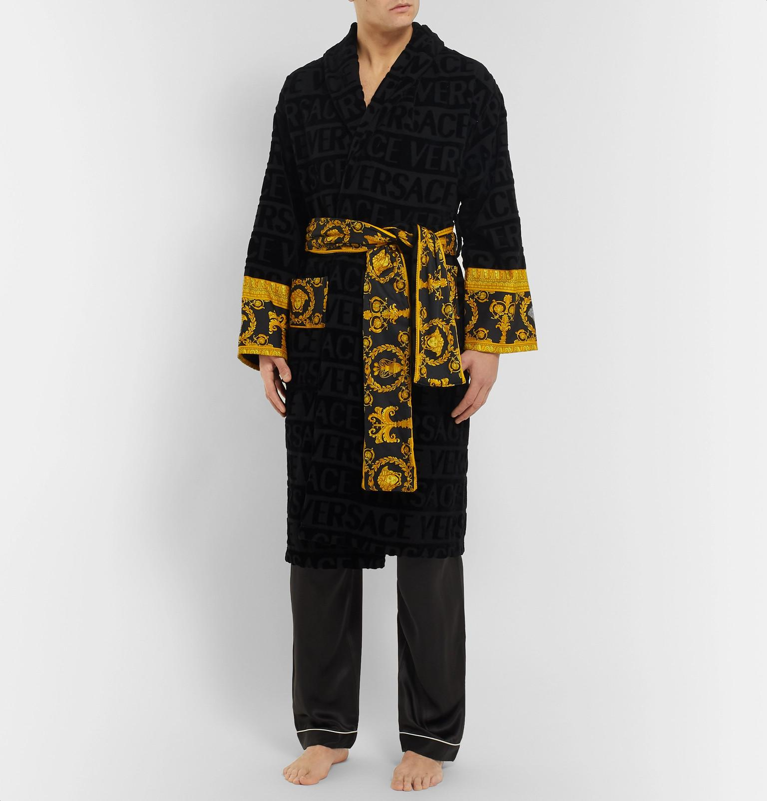 a140631837 Versace Poplin-panelled Logo-jacquard Cotton-terry Robe in Black for ...