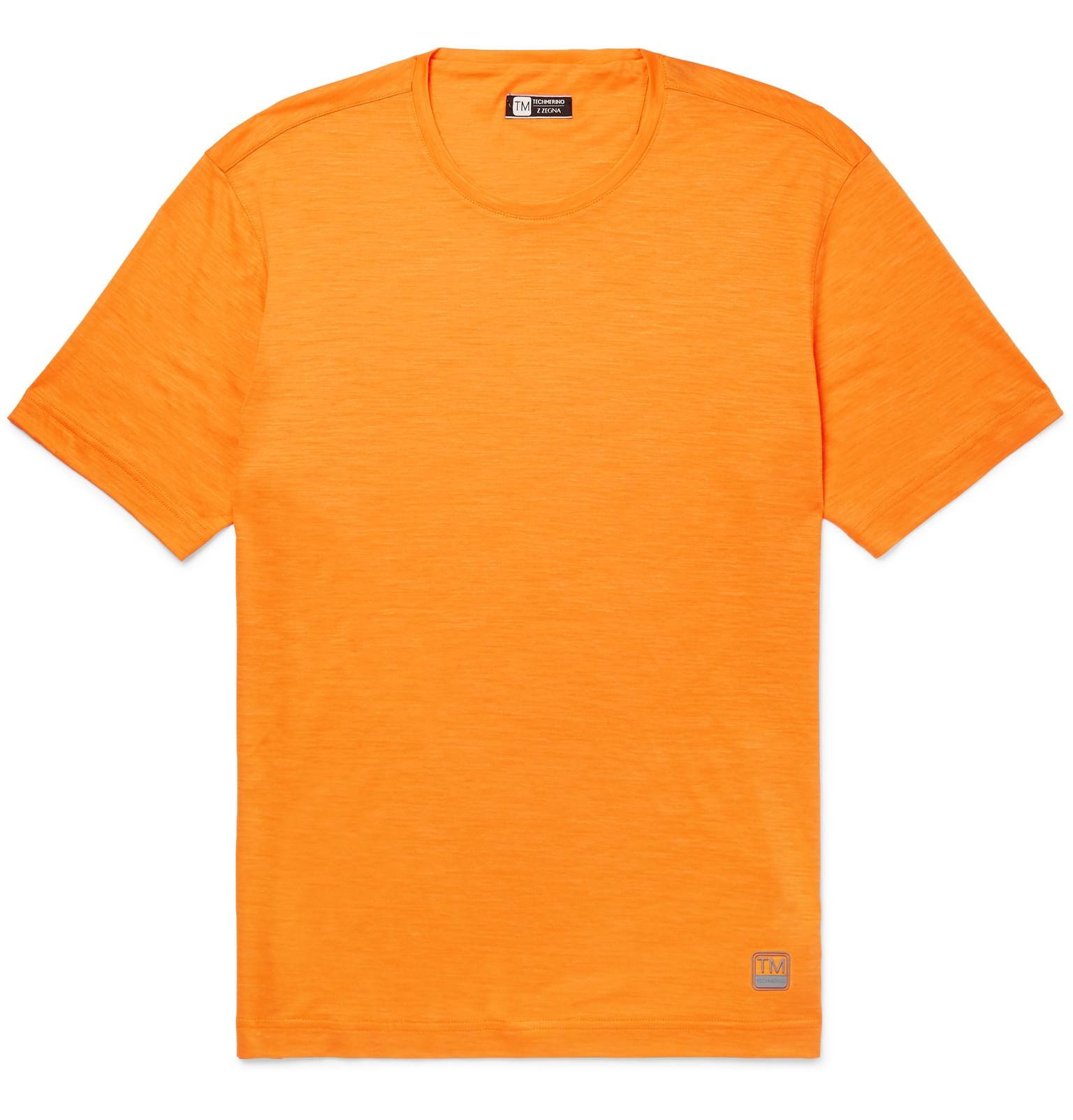 Z Zegna Orange Techmerino Wool And Linen-blend T-shirt for men