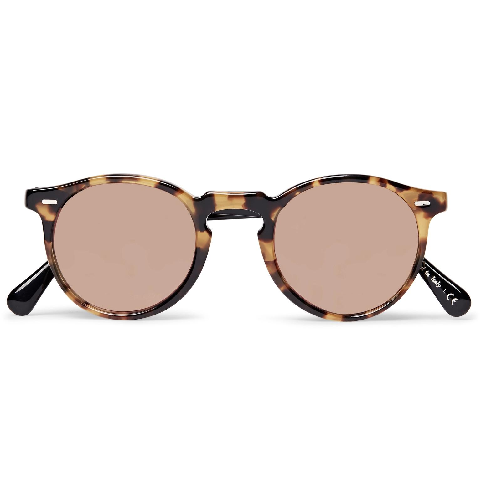 Oliver Peoples Gregory Peck Round-frame Two-tone Tortoiseshell Acetate Sunglasses - Brown etxRa