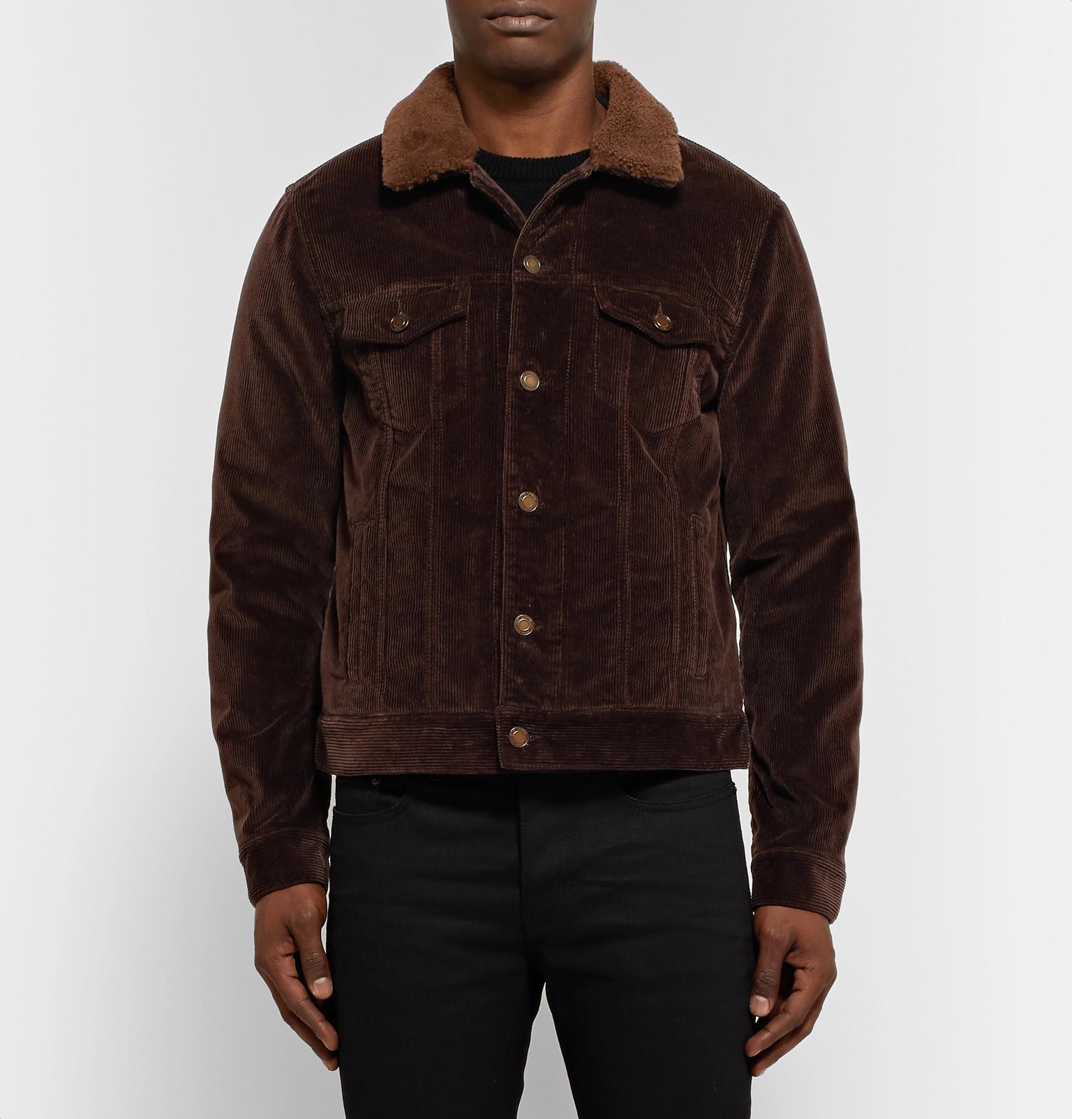 c7a8fcab0 Saint Laurent Brown Shearling-lined Cotton-corduroy Trucker Jacket for men