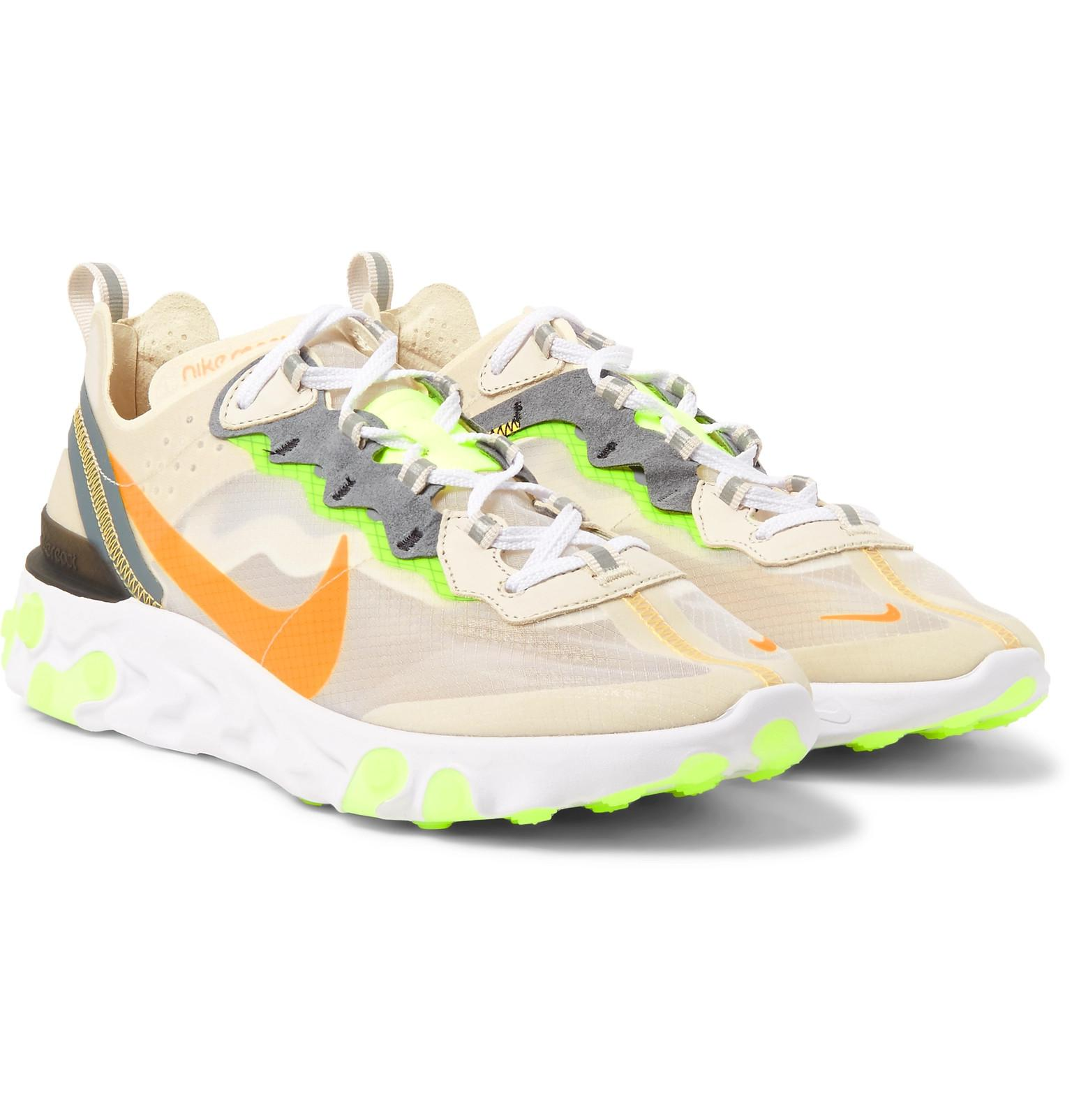 React Element 87 Ripstop, Leather And Suede Sneakers