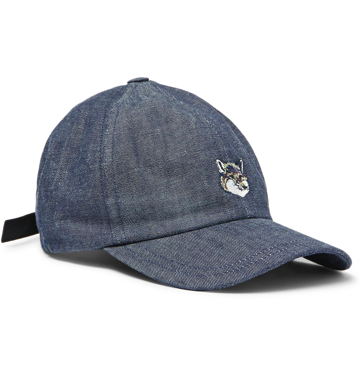 8fce87a211e138 Maison Kitsuné Embroidered Denim Cap in Blue for Men - Lyst