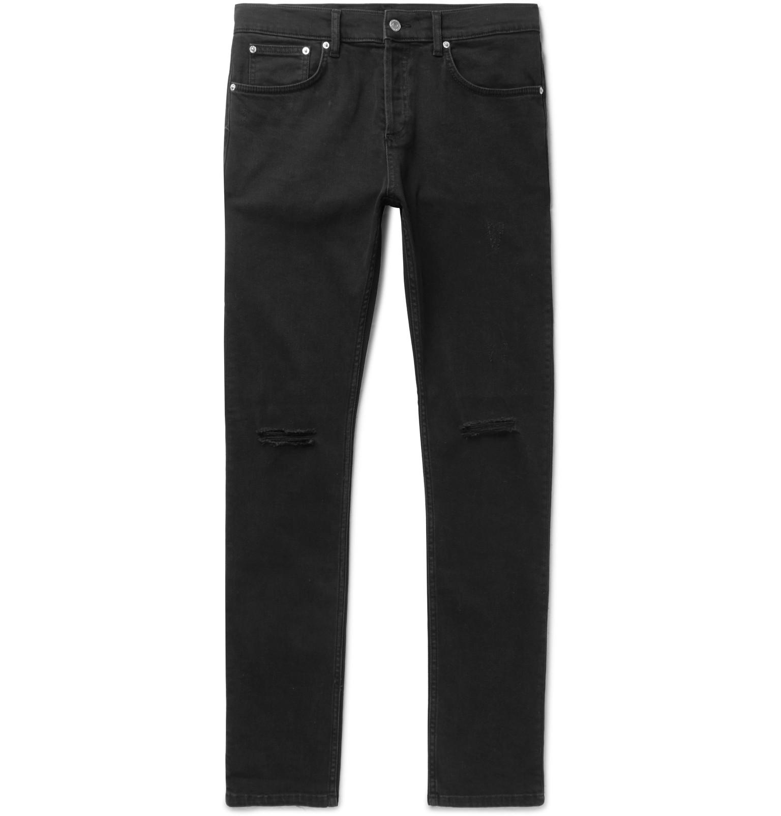 brand new 83907 10c2b sandro-black-Skinny-fit-Distressed-Stretch-denim-Jeans.jpeg