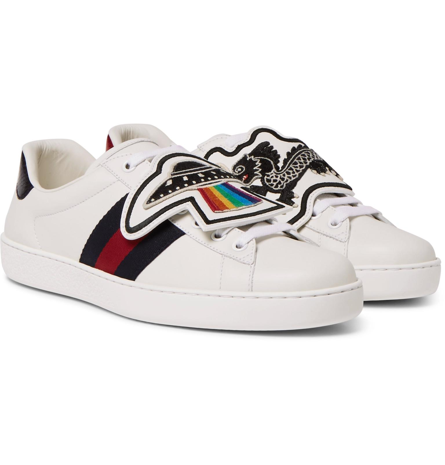 0e5a348666a Gucci Ace Watersnake-trimmed Embellished Leather Sneakers in White ...