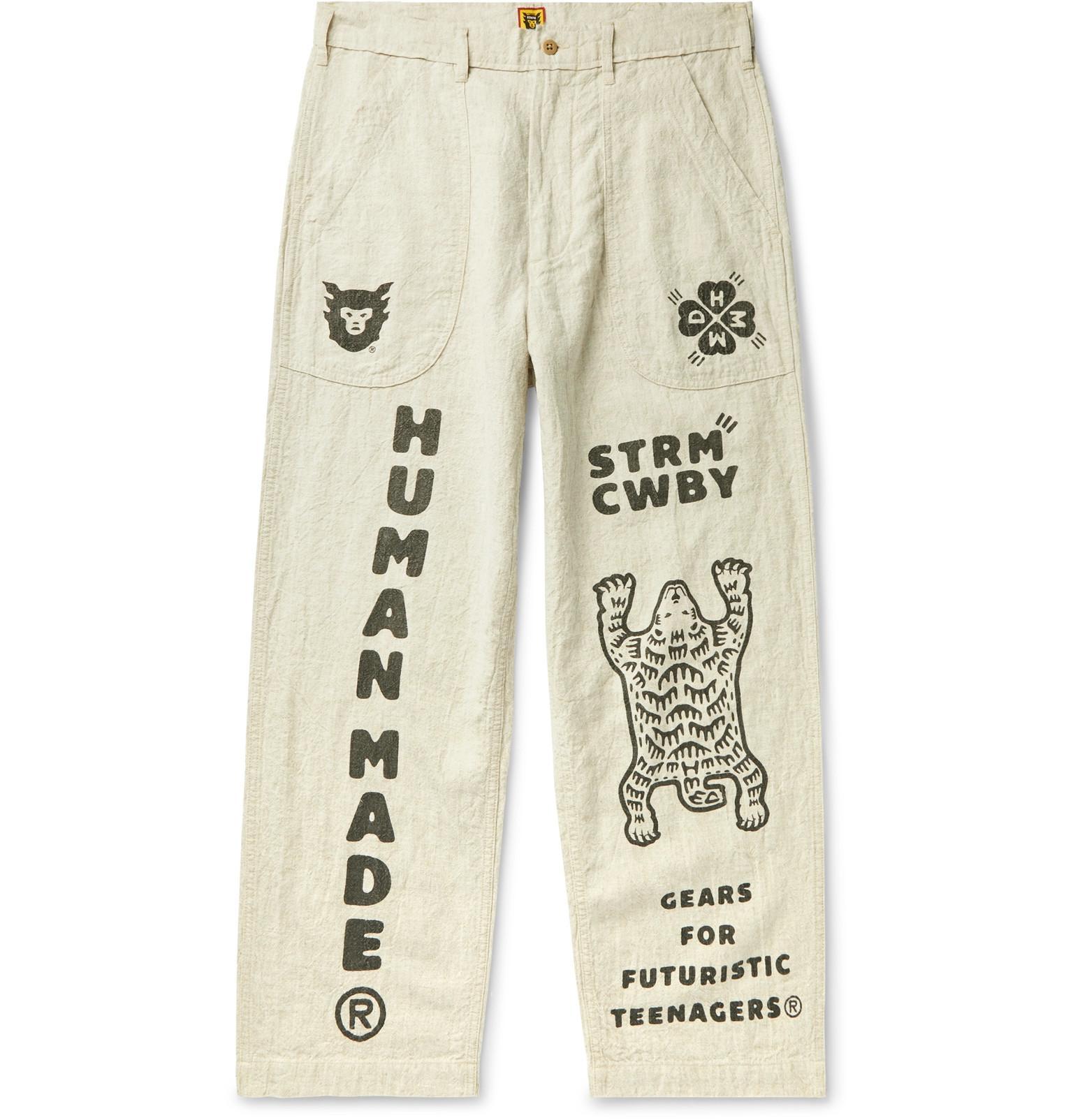 Mr.Macy Mens New Patchwork Printed Trousers Pants Casual Holes Pants Sweatpants