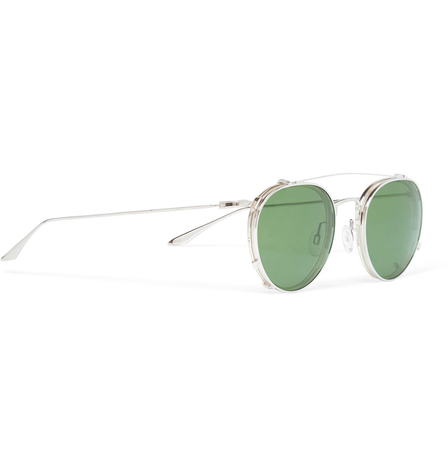 155d6d8aca Barton Perreira - Metallic Aalto Round-frame Titanium And Acetate Optical  Glasses With Clip-. View fullscreen
