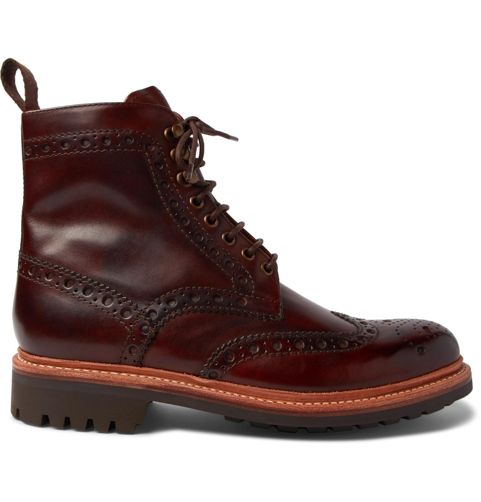 0bba8a3adcb Lyst - Grenson Fred Burnished-leather Brogue Boots in Brown for Men