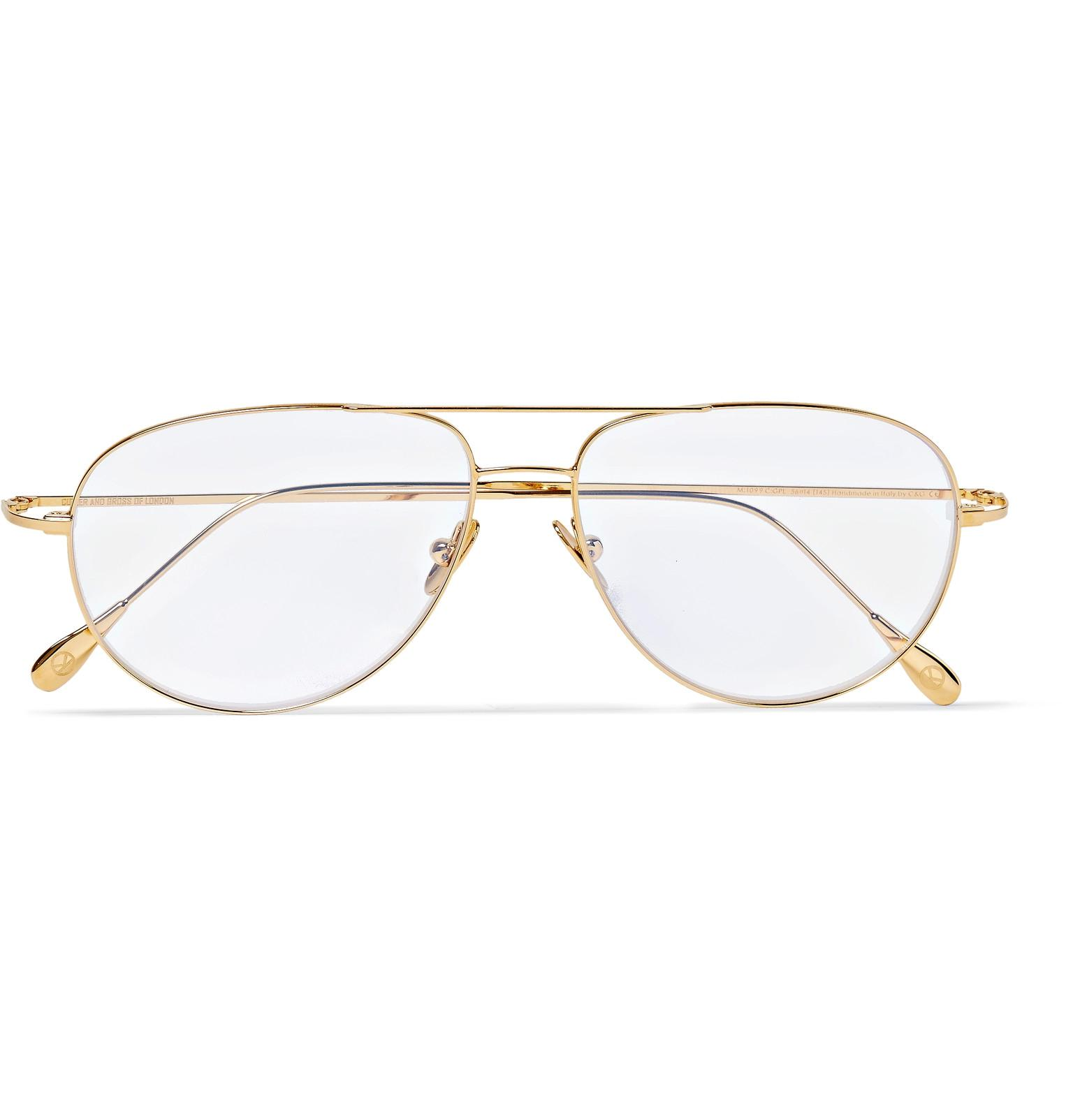 08afe8e822 Lyst - Kingsman + Cutler And Gross Statesman Aviator-style Gold-tone ...