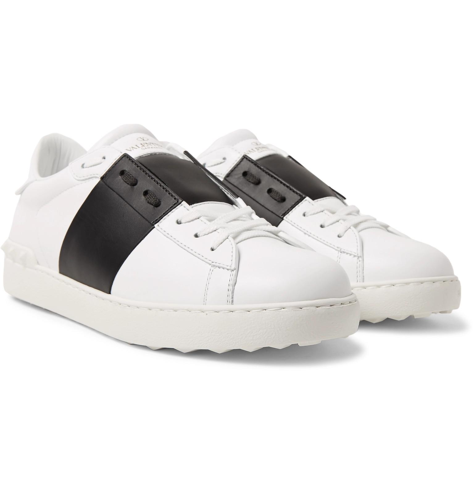 Cuir Rayé Garavani Ouvert Slip-on Chaussures Valentino 5524a0Z