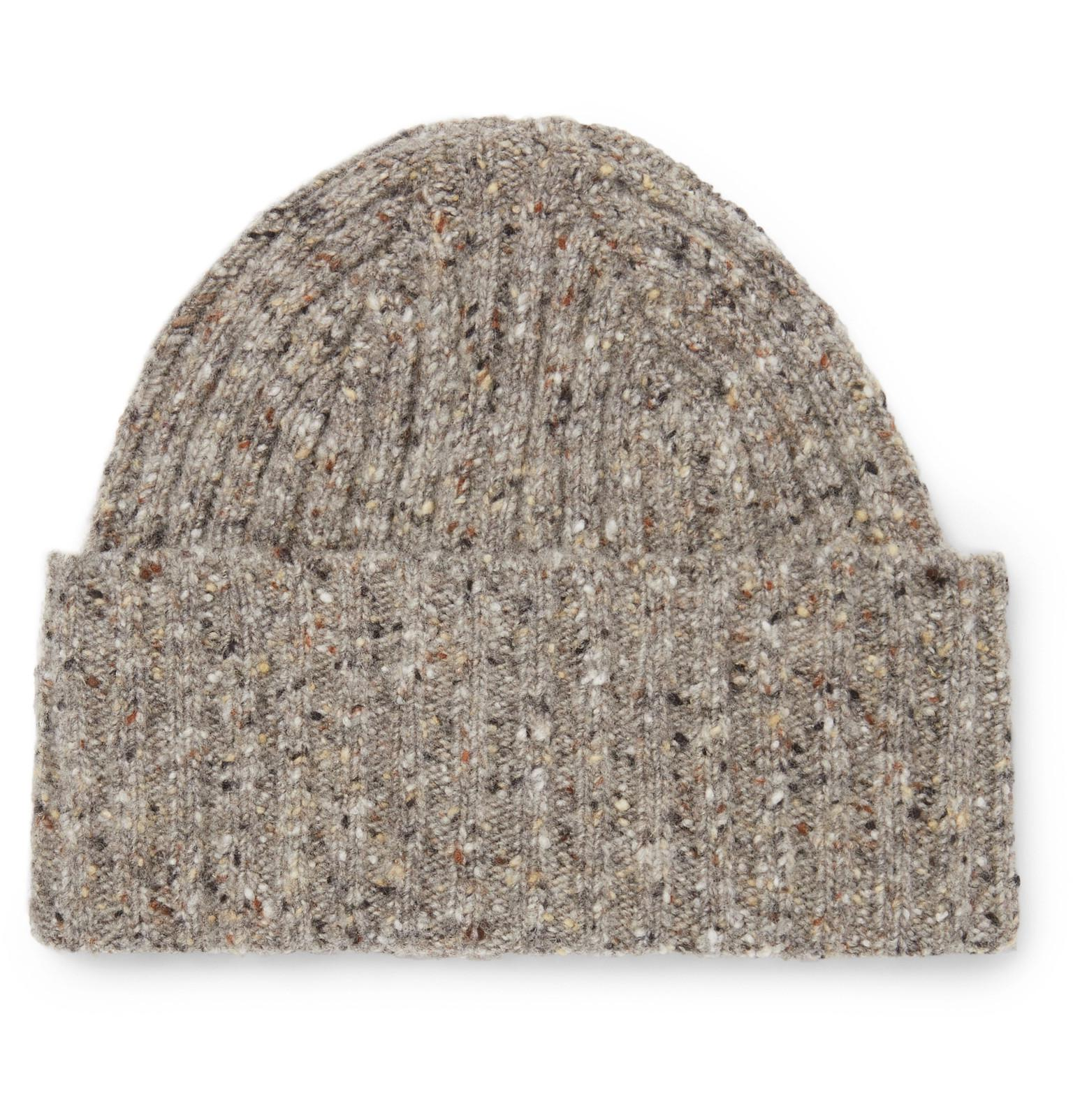 774b1f96645 Lyst - Drake s Ribbed Donegal Merino Wool Beanie in Natural for Men