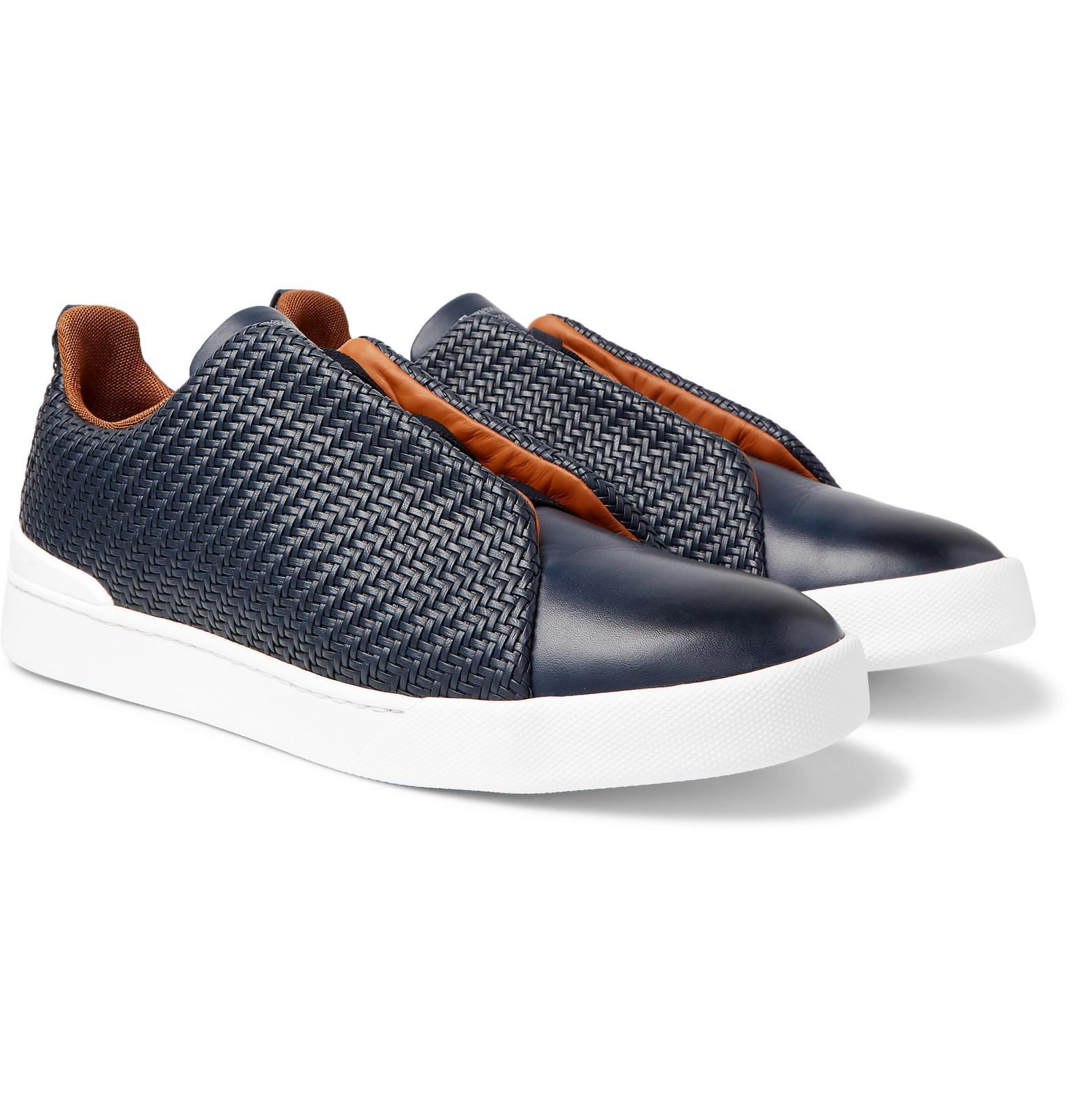 a8888cb6 Ermenegildo Zegna Blue Triple Stitch Pelle Tessuta Leather Slip-on Sneakers  for men