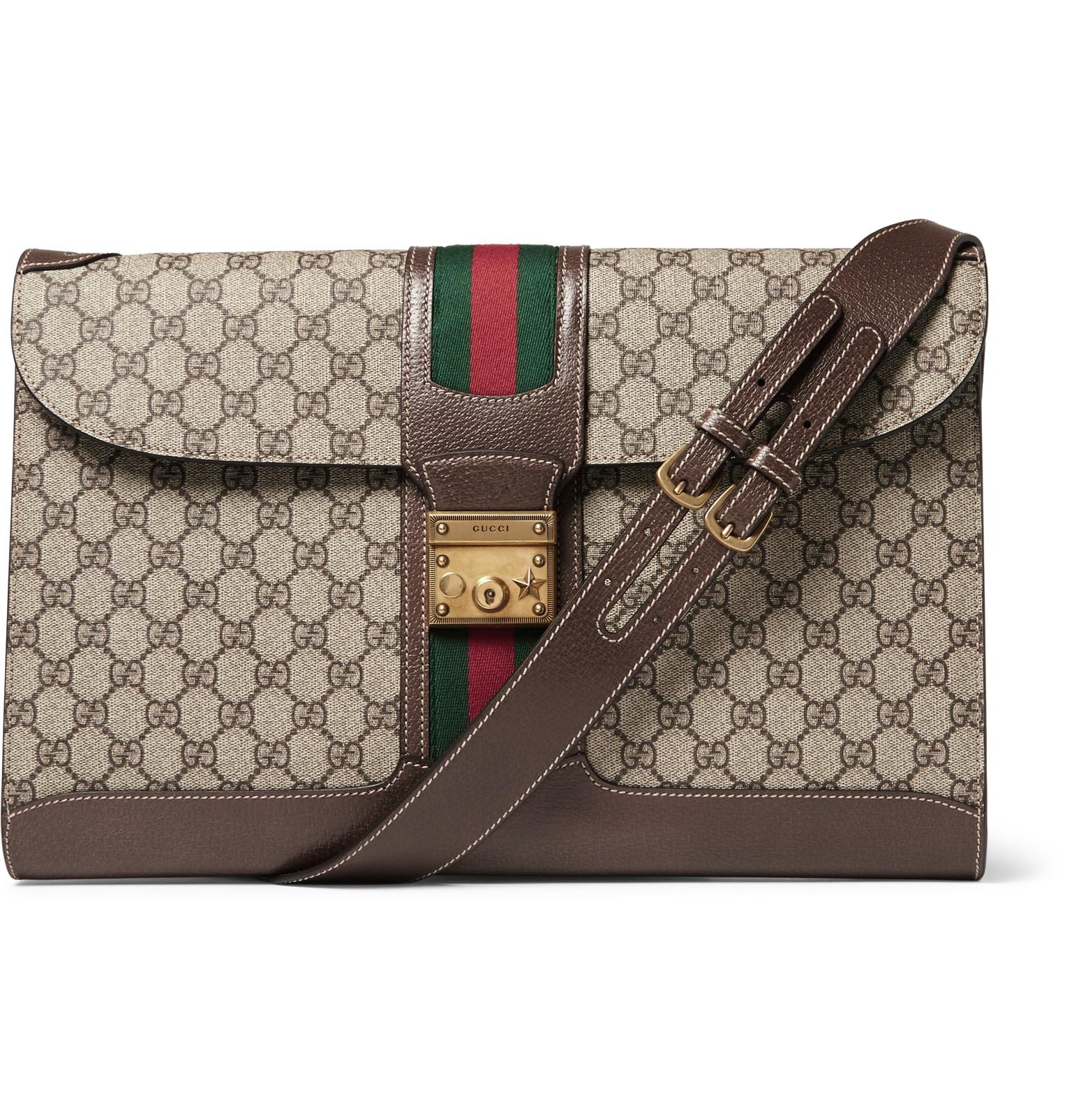 e2d0b85d9bdc18 Gucci Leather-trimmed Monogrammed Coated-canvas Messenger Bag in ...