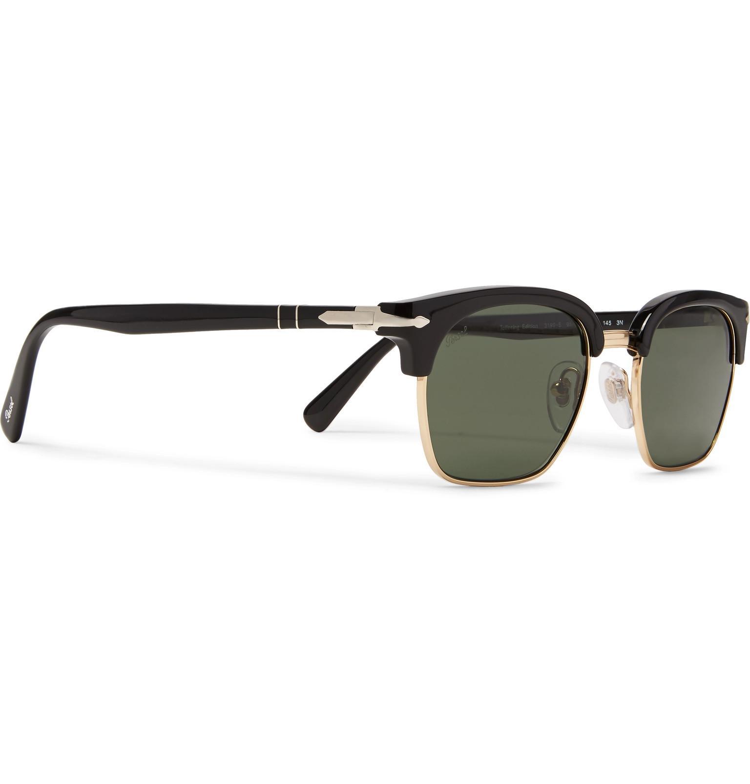 19e2fd05b1419 Persol - Black D-frame Acetate And Gold-tone Sunglasses for Men - Lyst.  View fullscreen
