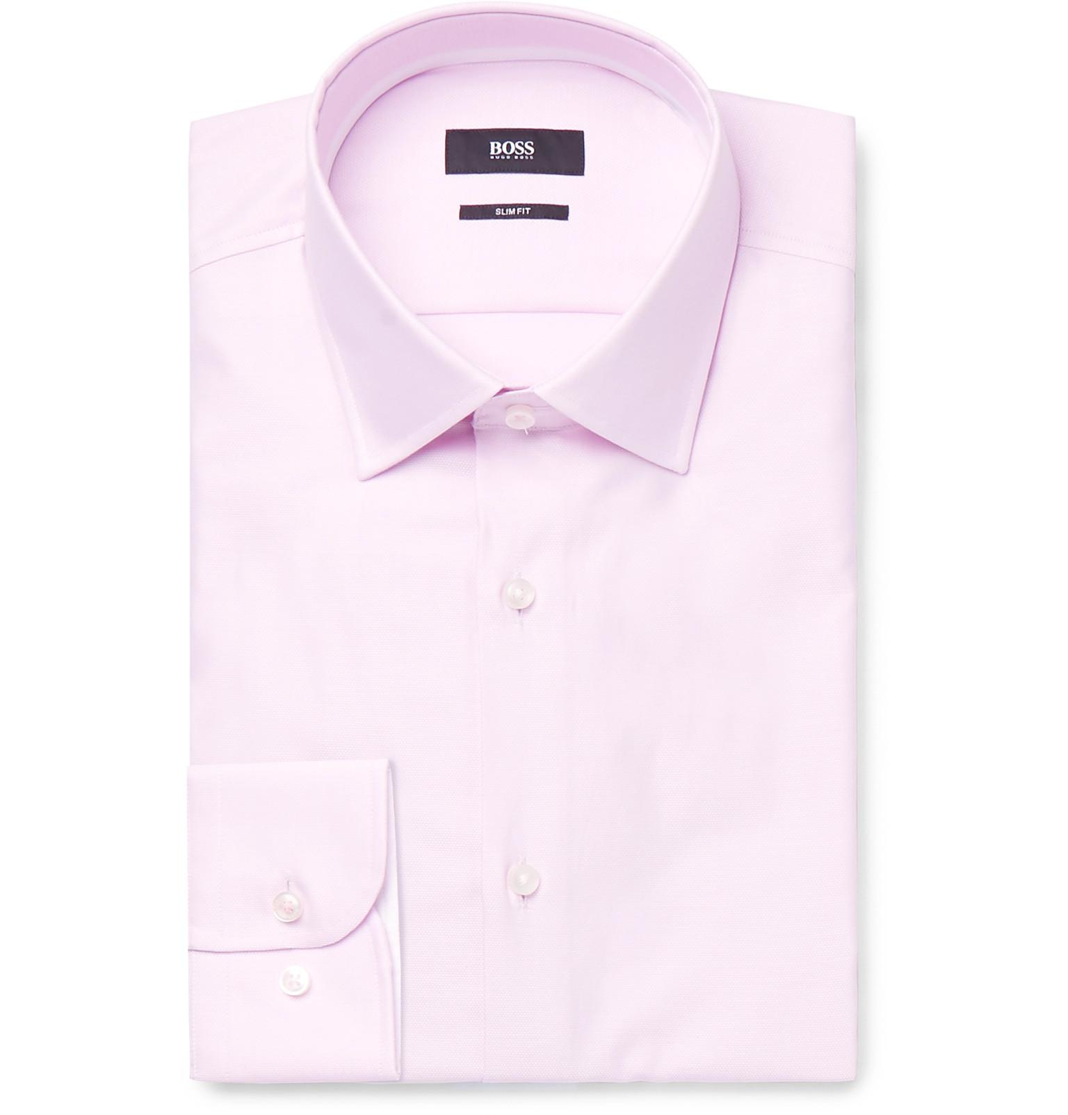 d0b651bae BOSS - Pink Jesse Slim-fit Cotton Oxford Shirt for Men - Lyst. View  fullscreen
