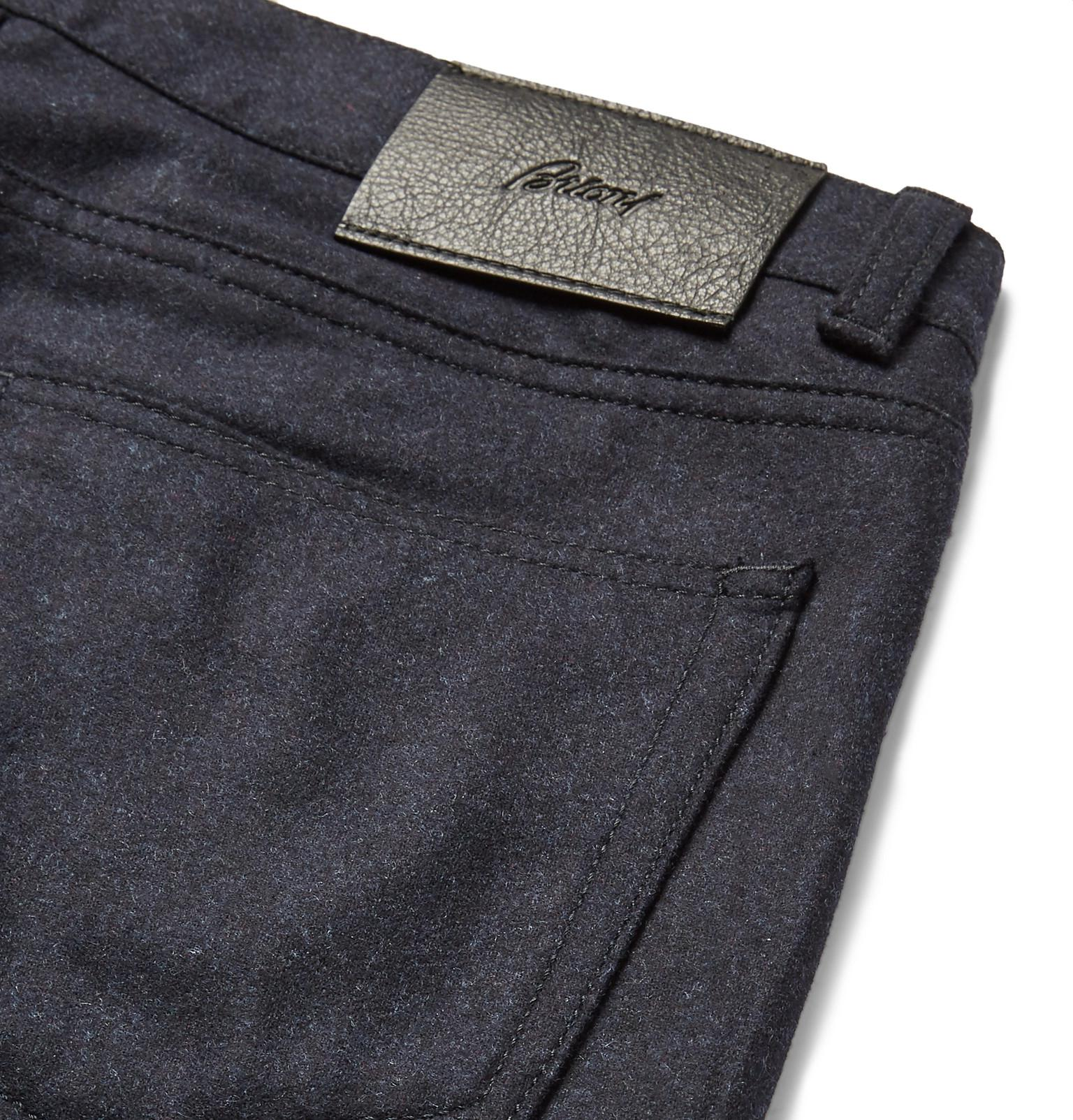 Brioni Slim-fit Mélange Wool Trousers in Navy (Blue) for Men