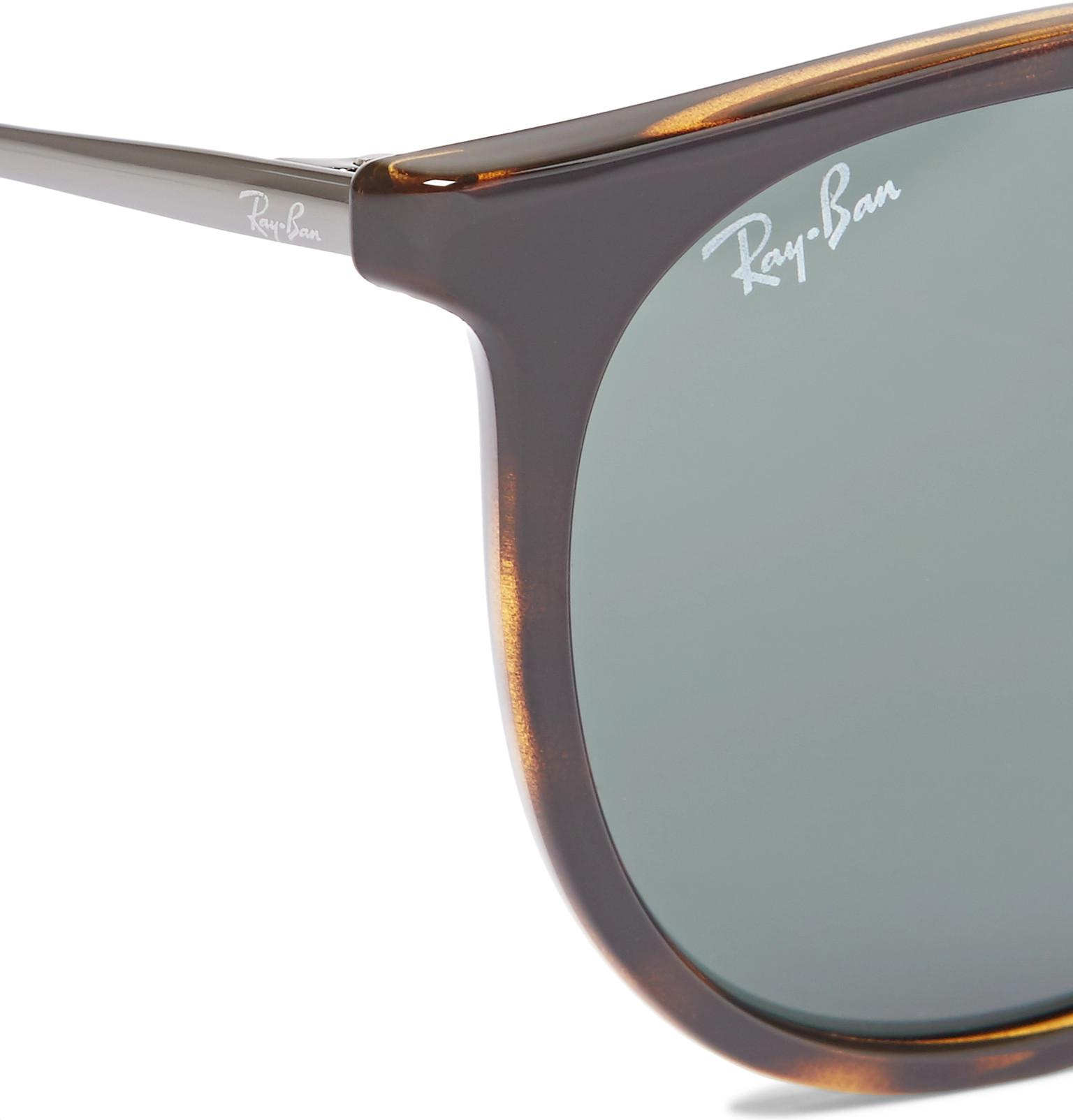 Ray-Ban Leather Erika Round-frame Tortoiseshell Acetate Sunglasses in Brown for Men