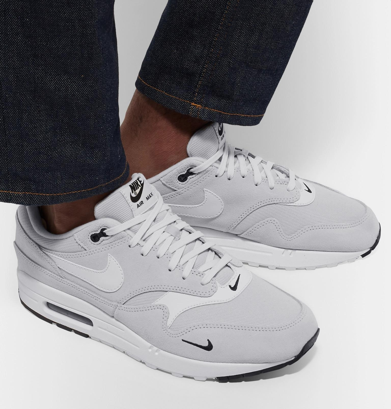 Nike Air Max 1 Premium Leather-trimmed Suede And Mesh Sneakers in ...