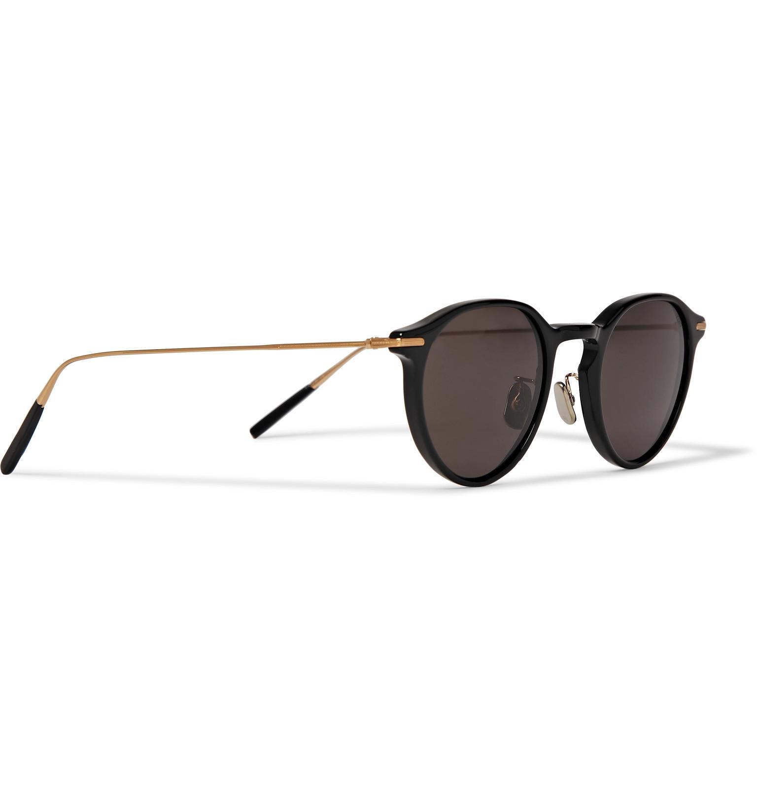 58b5eebbce7 Eyevan 7285 - Black Round-frame Acetate And Gold-tone Sunglasses for Men -.  View fullscreen