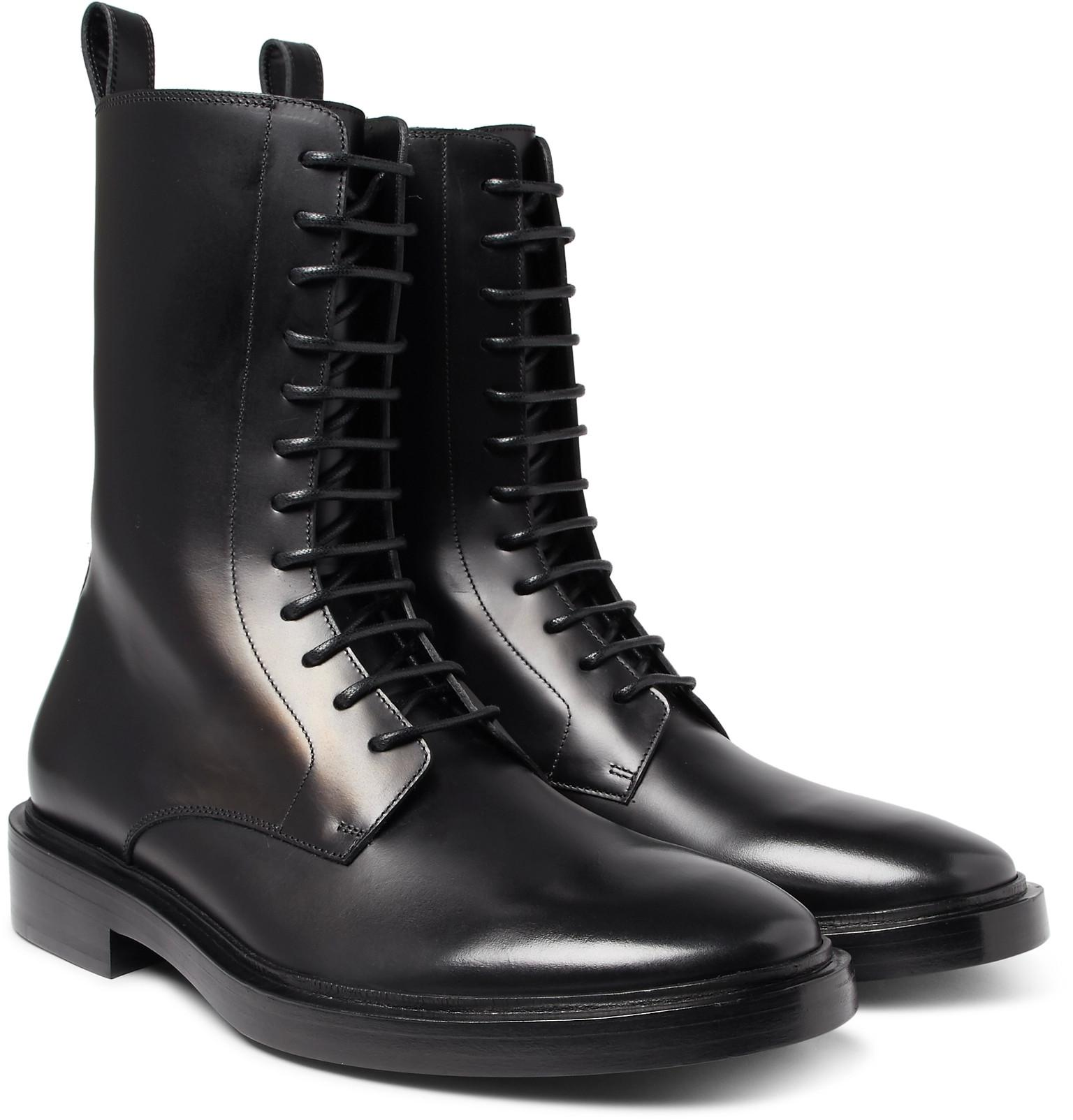 Balenciaga Leather Combat Boots in