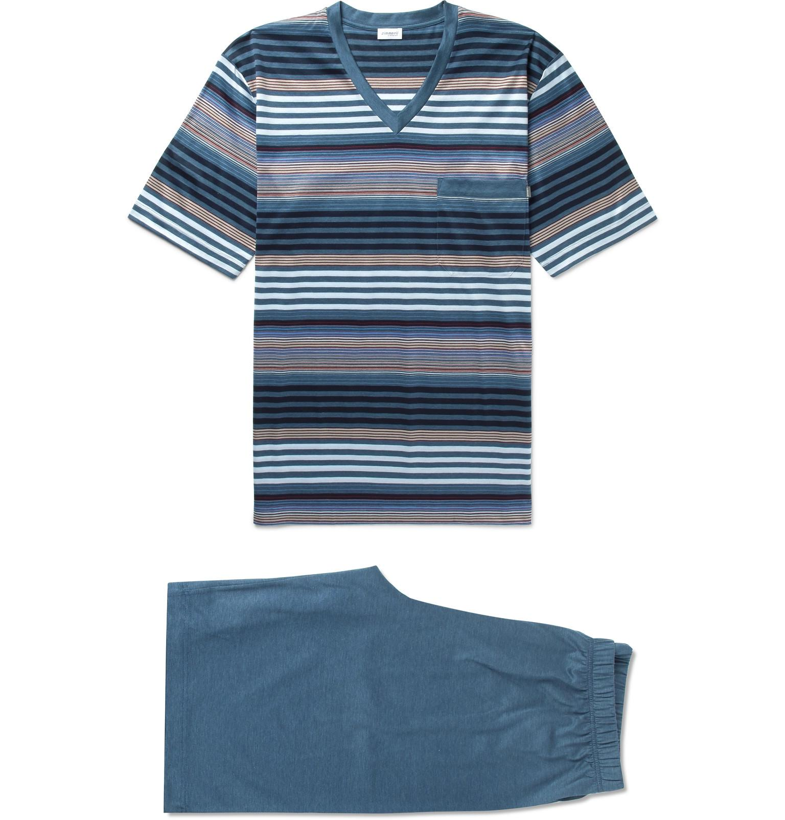 Zimmerli Cotton-jersey Pyjama Set - Blue ohp6tuL