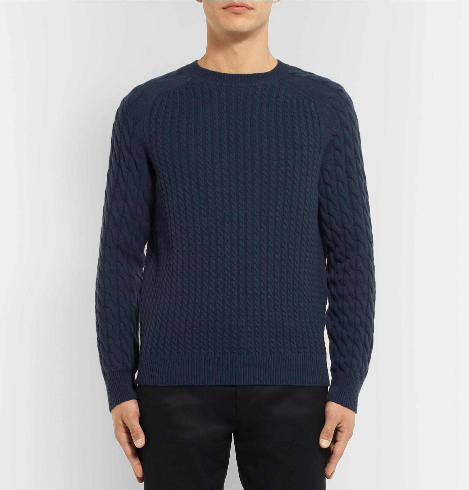 Men Cashmere Knit For Cable Dunhill Lyst In Blue Sweater Ocqnb786tw