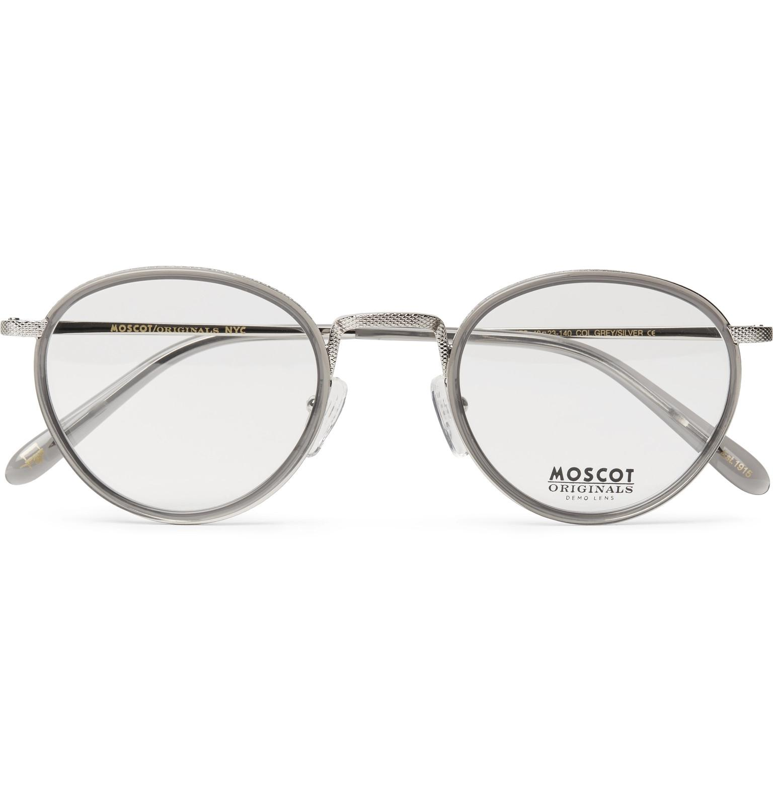 935f1f0aad6 Moscot Bupkes Round-frame Acetate-trimmed Silver-tone Optical ...