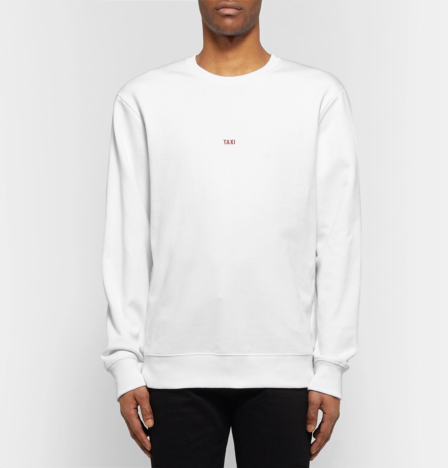Logo Lang Sweatshirt Jersey Cotton Fullscreen Helmut Loopback For View Paris White Taxi Print Men dIxxT4qw