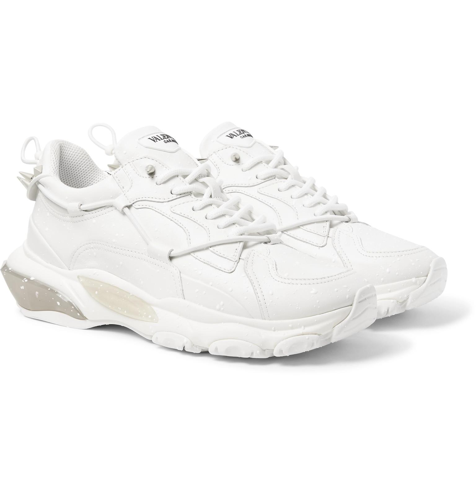 8fe5f9eee2c28 Valentino Garavani Bounce Leather And Mesh Sneakers in White for Men ...