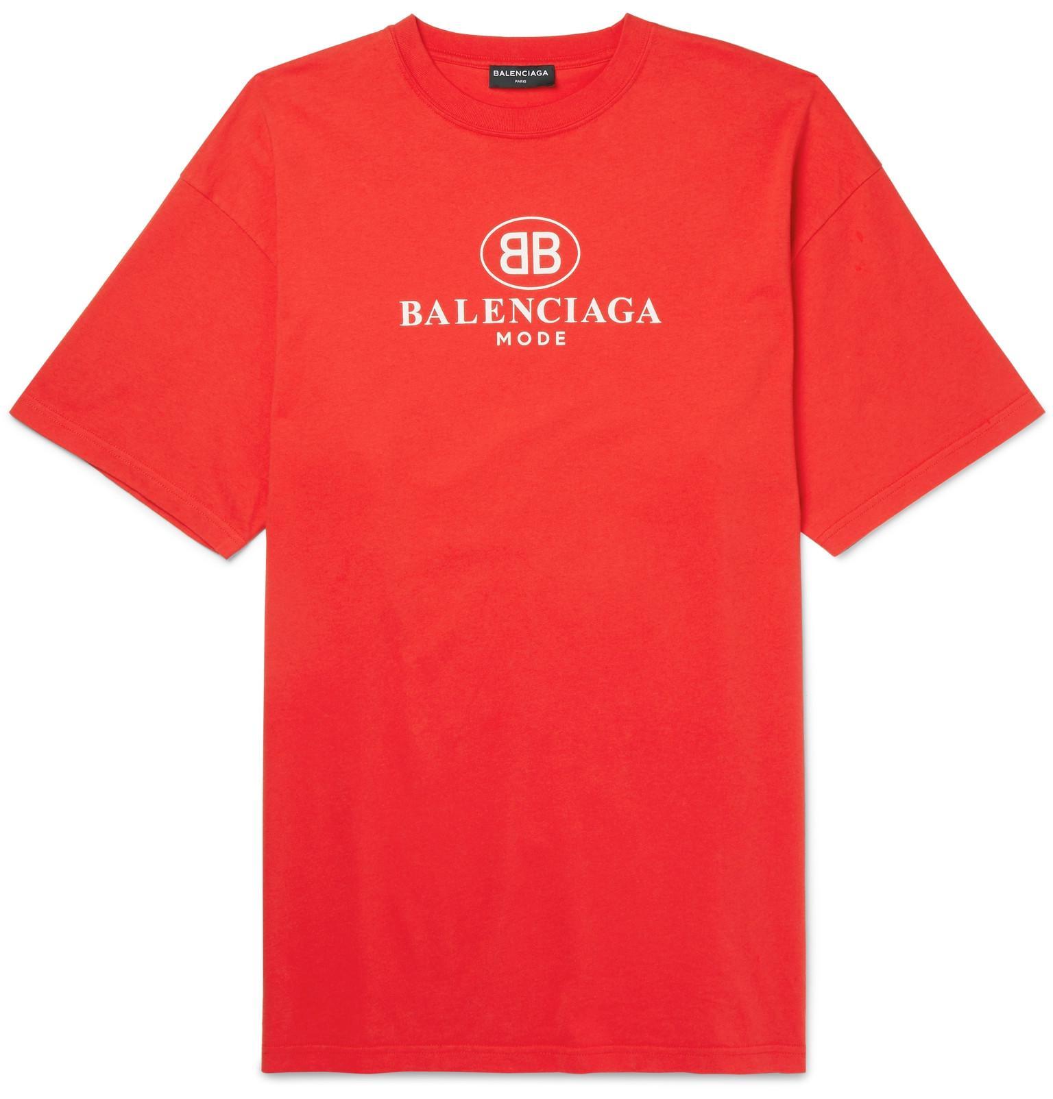 Lyst balenciaga printed cotton jersey t shirt in red for men for Balenciaga t shirt red