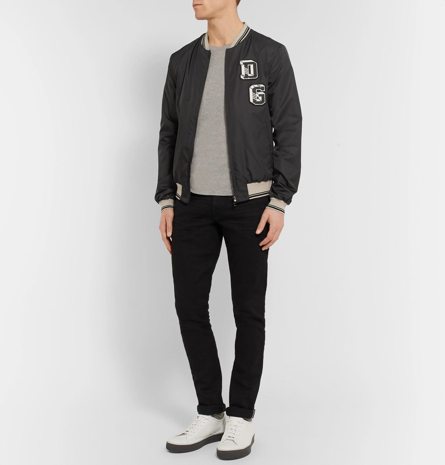 Dolce & Gabbana Denim Appliquéd Shell Bomber Jacket in Black for Men