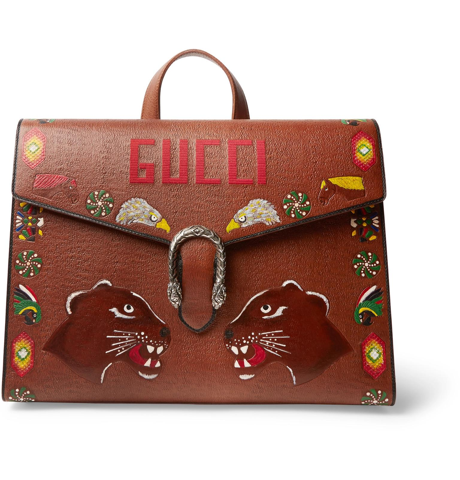 09fda9c2228 Gucci Dionysus Hand-painted Textured-leather Briefcase in Brown for ...