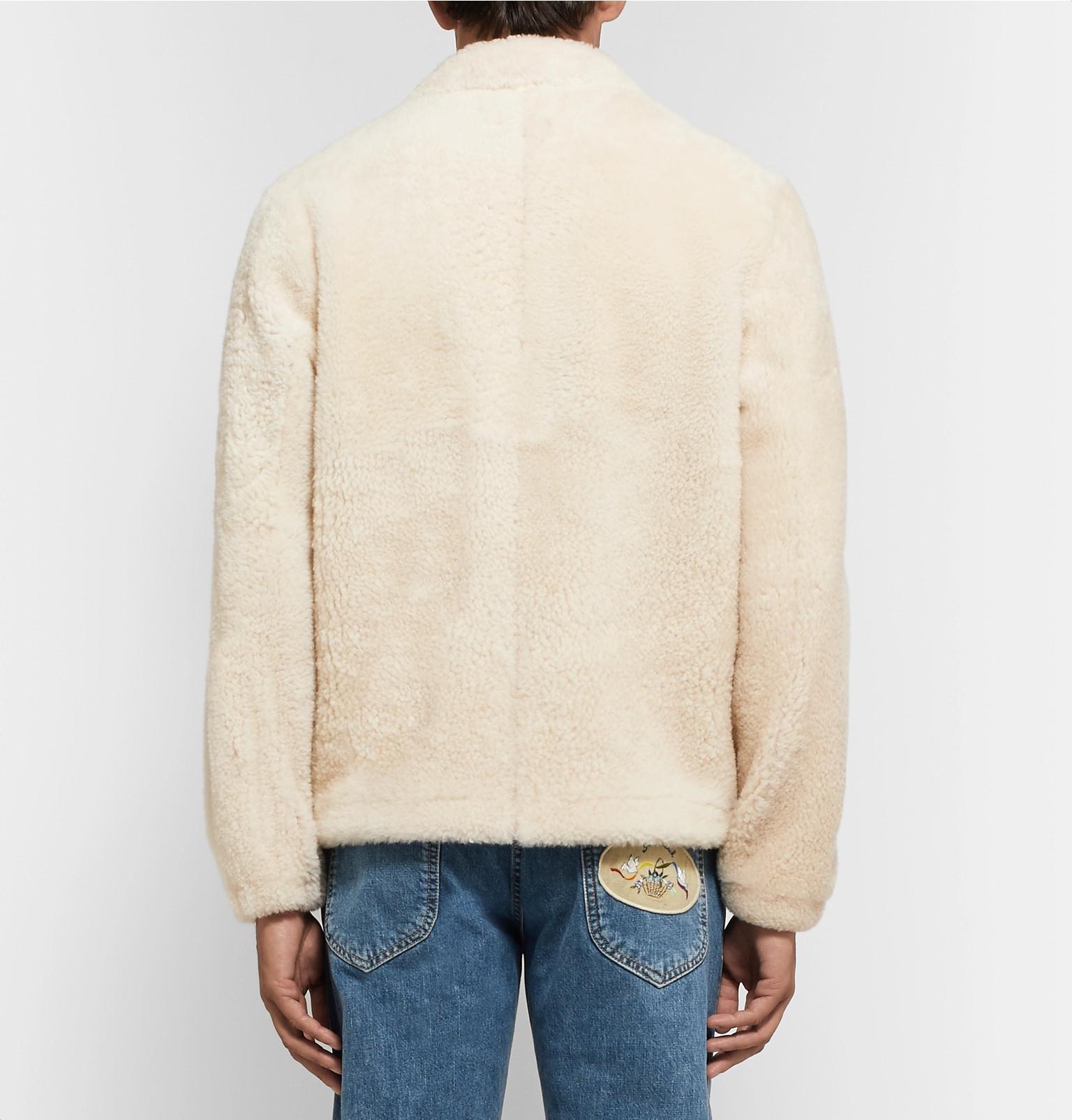 Loewe Denim Leather-trimmed Shearling Jacket in Cream (Natural) for Men