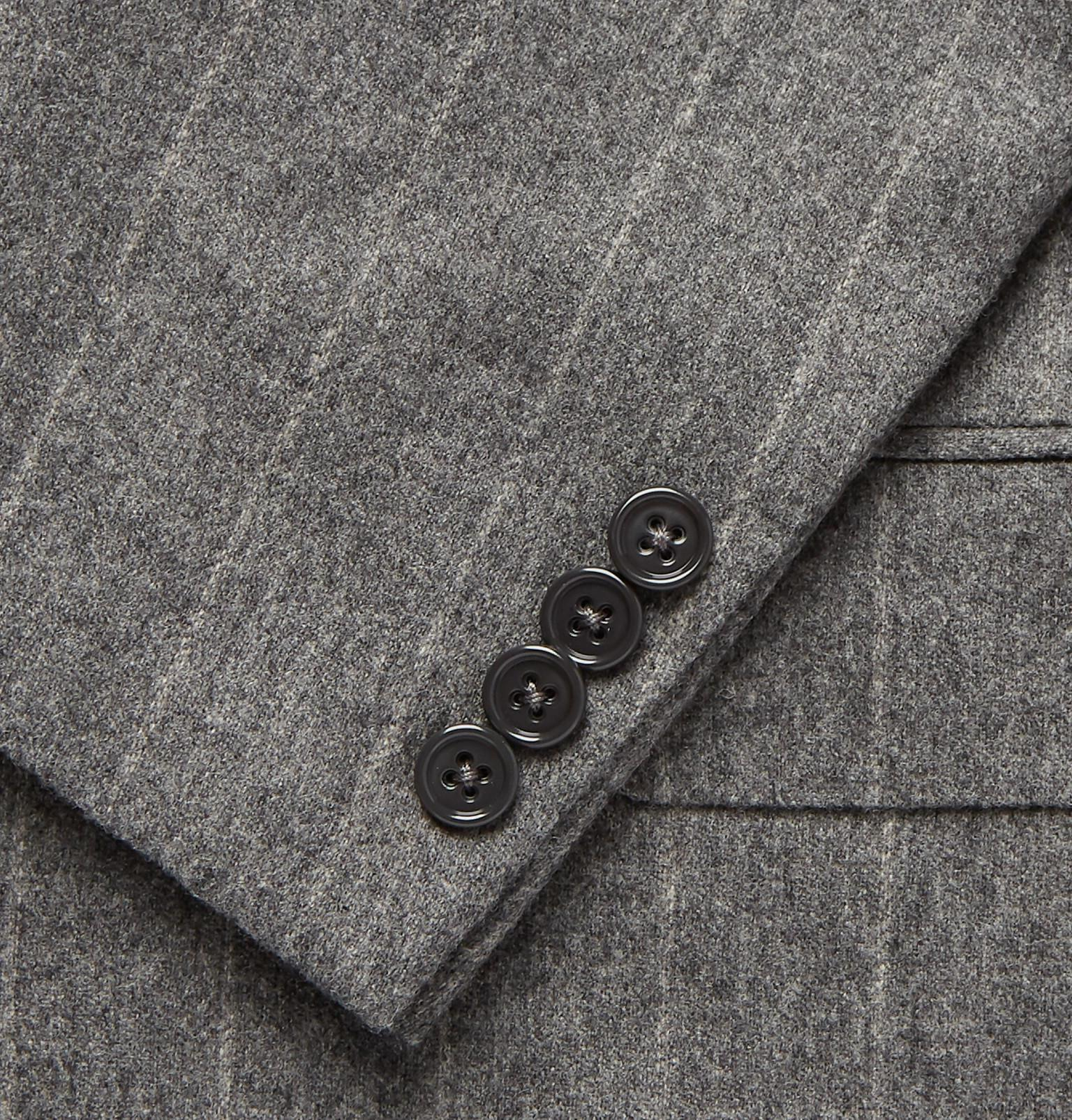 aa95364002ad Ralph Lauren Purple Label - Gray Grey Gregory Double-breasted Pinstriped  Wool Suit Jacket for. View fullscreen