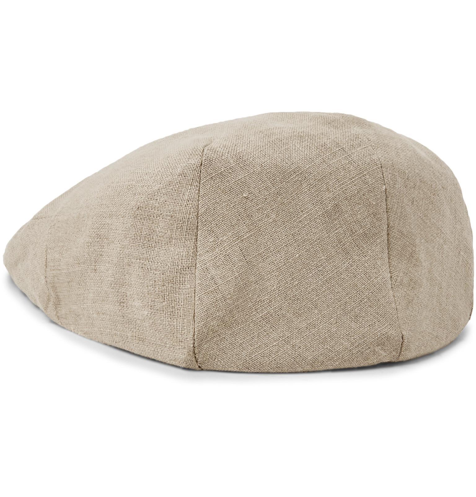 c4e1a70e072 Lock   Co. Glen Linen Flat Cap in Natural for Men - Lyst