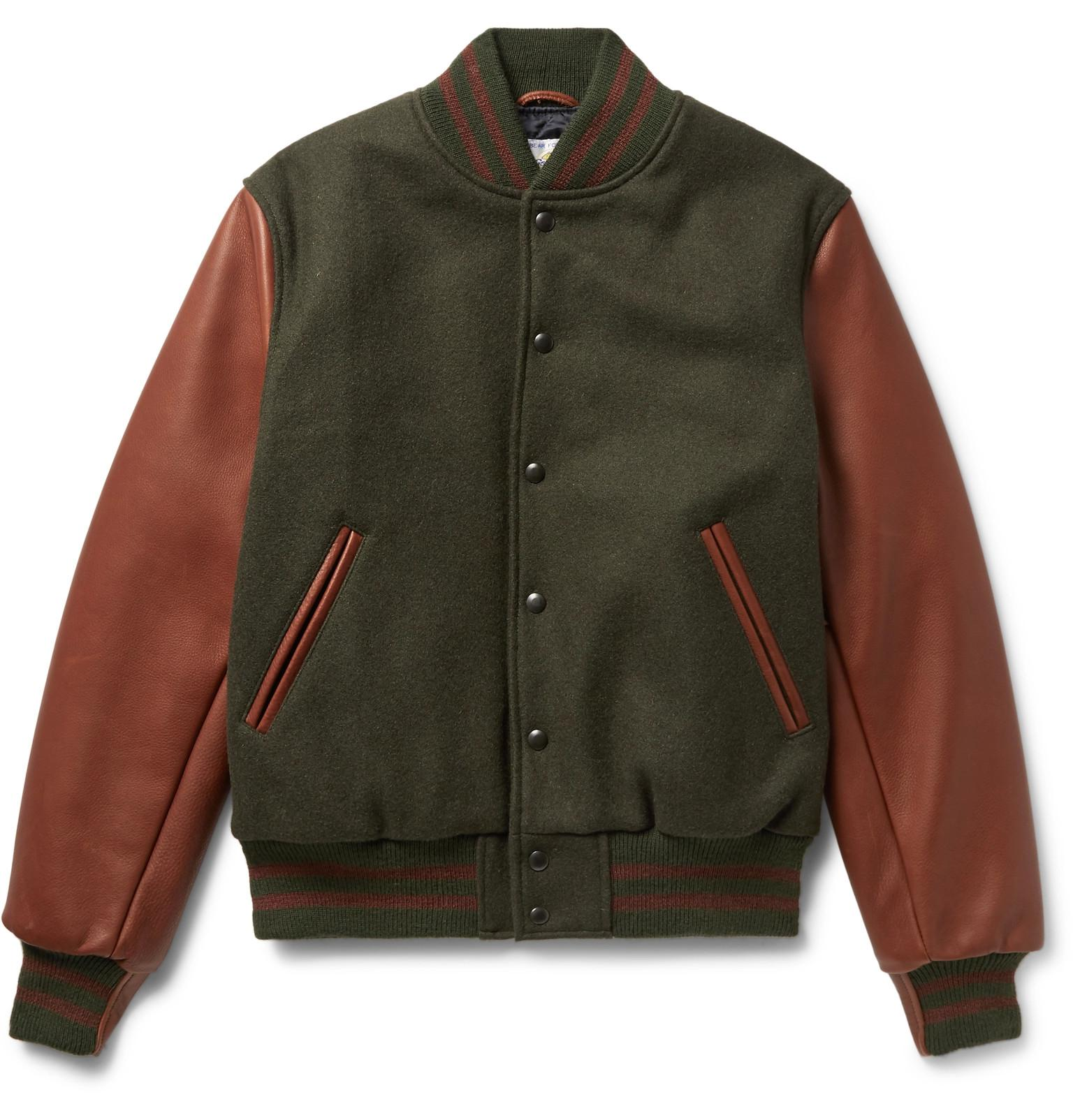 ab12680e8c30 Lyst - Golden Bear Virgin Wool-blend And Leather Bomber Jacket in ...