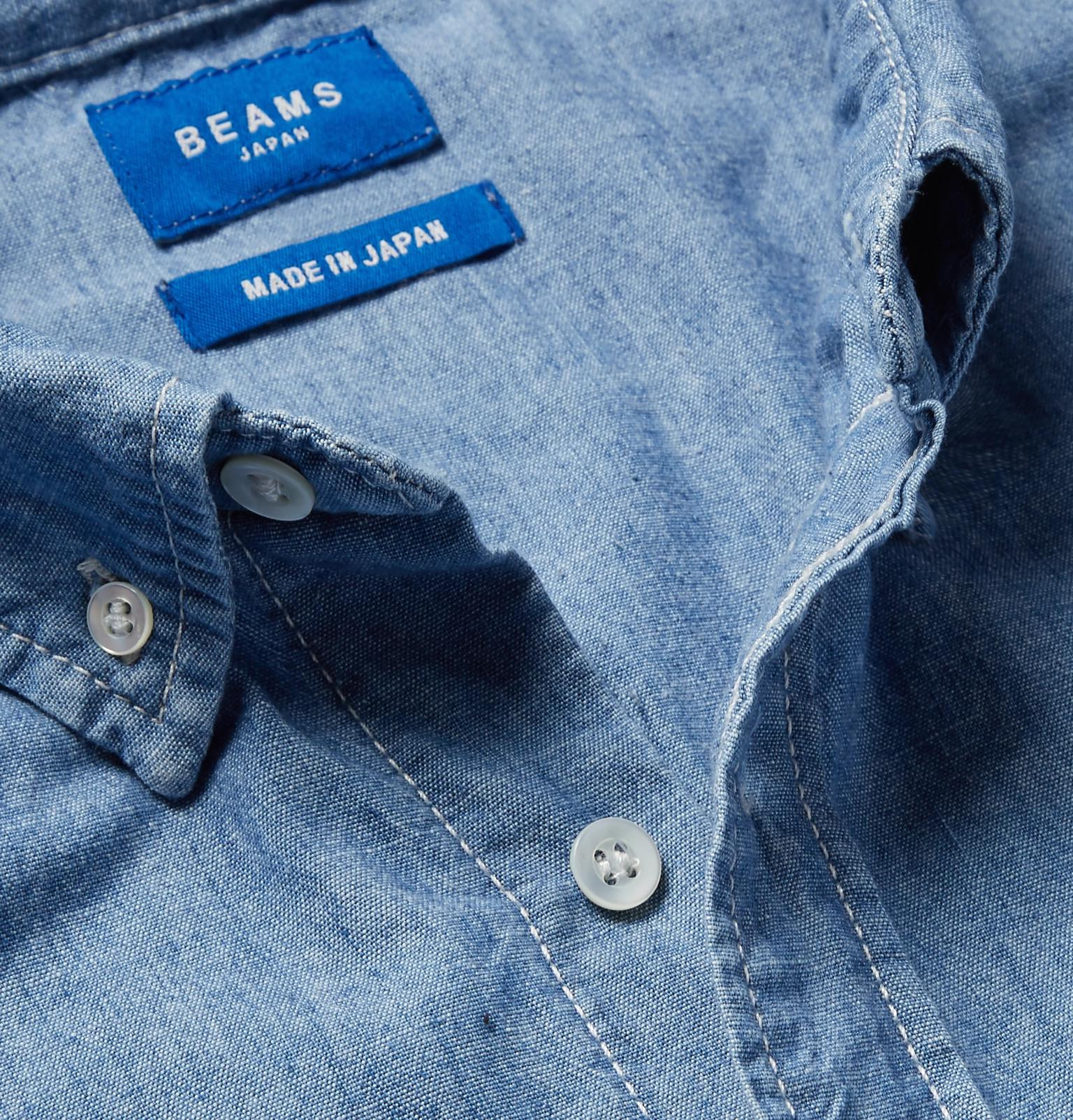 ef121cc0b3d Lyst - Beams Plus Button-down Collar Indigo-dyed Cotton-chambray ...