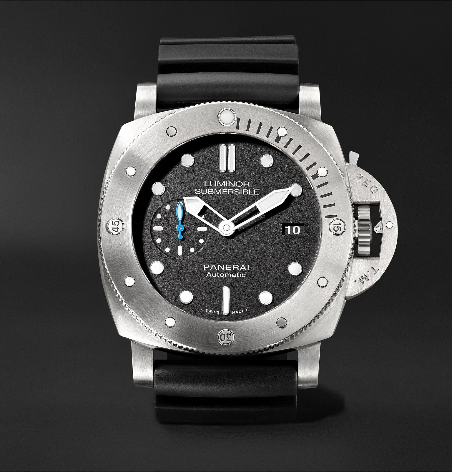 d5a9148df290 Officine Panerai. Men s Black Luminor Submersible 1950 3 Days Automatic  47mm Titanium ...