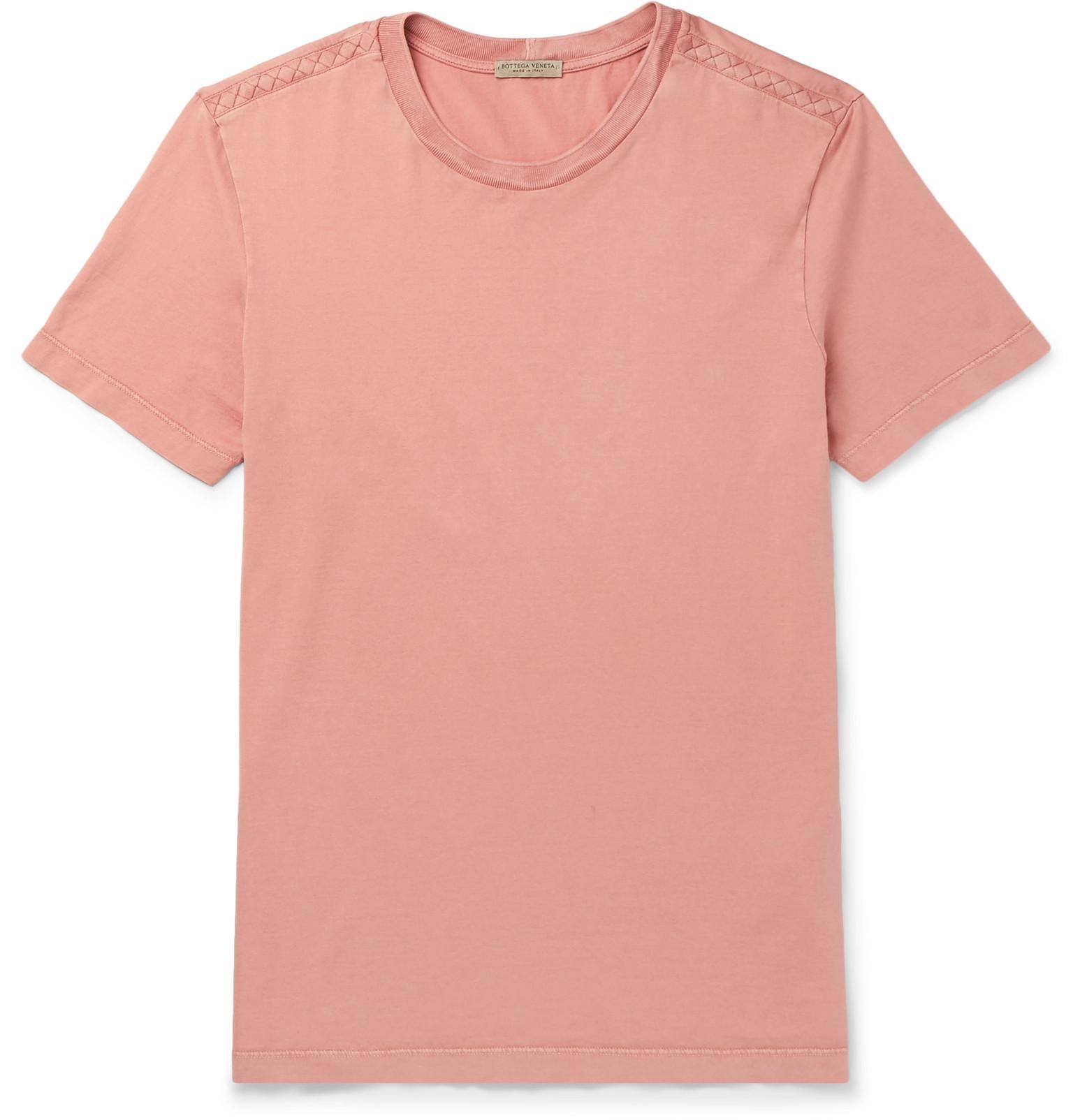 bf3a7357bae20 Lyst - Bottega Veneta Intrecciato-trimmed Cotton-jersey T-shirt in ...